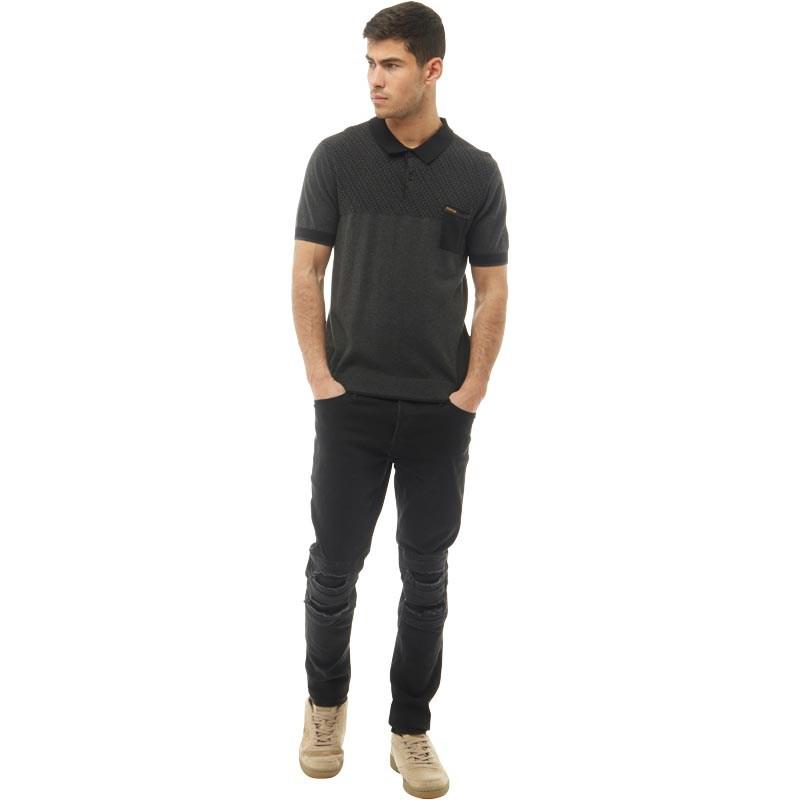 Firetrap Cotton Knitted Polo Charcoal Marl in Grey for Men