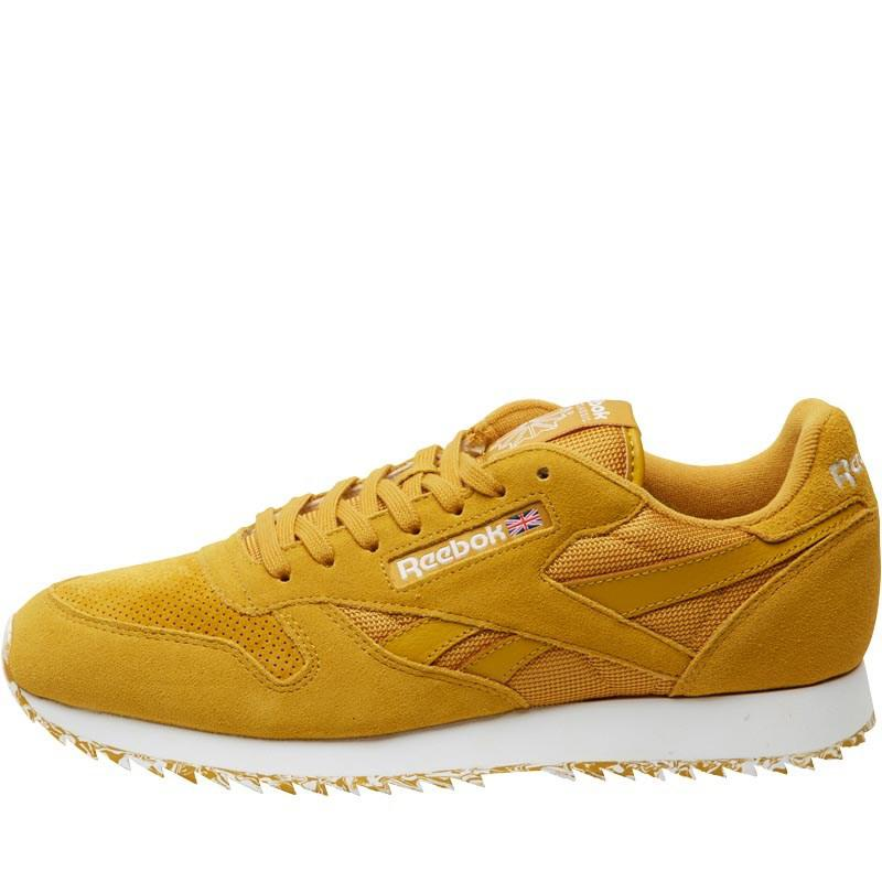 Reebok Leather Ripple Marble Trainers Wild Khaki white in Yellow - Lyst 6e11359d1