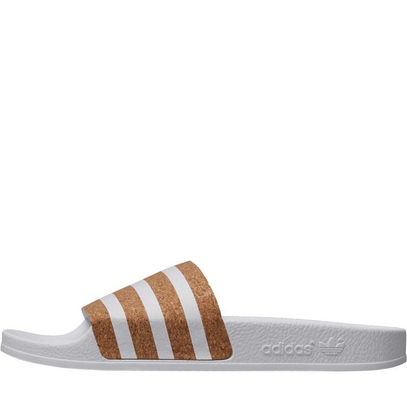 438c89e18c75f Adidas Originals - Adilette Slides Cloud White/cloud White/cork - Lyst.  View fullscreen
