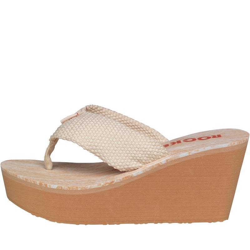 5ab76cdee513 Rocket Dog Diver Webbing Wedge Sandals Double Cream in Natural - Lyst