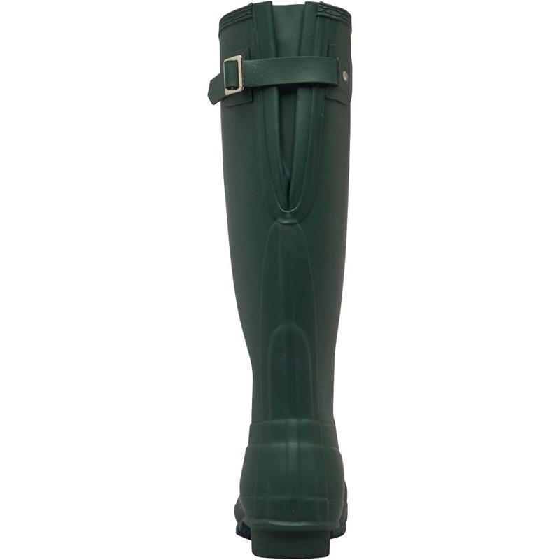 HUNTER Rubber Original Tall Back Adjustable Wellington Boots Green