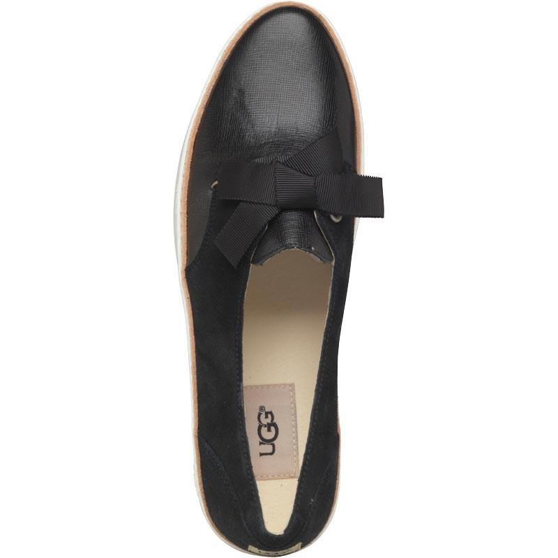 UGG Leather Carilyn Lace-up Sneaker Black