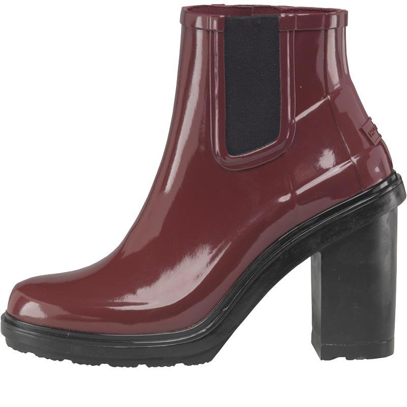 HUNTER Rubber Original Refined High Heel Chelsea Boots Dulse in Deep Purple (Purple)