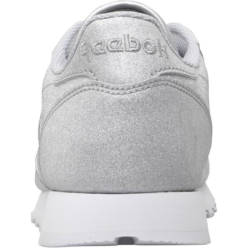 Reebok Classic Leather Syn Trainers Silver Metallic snow Grey white ... c3785ba6e