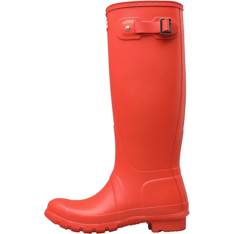 HUNTER Rubber Original Tall Wellington Boots Orange in Orange Red (Red)