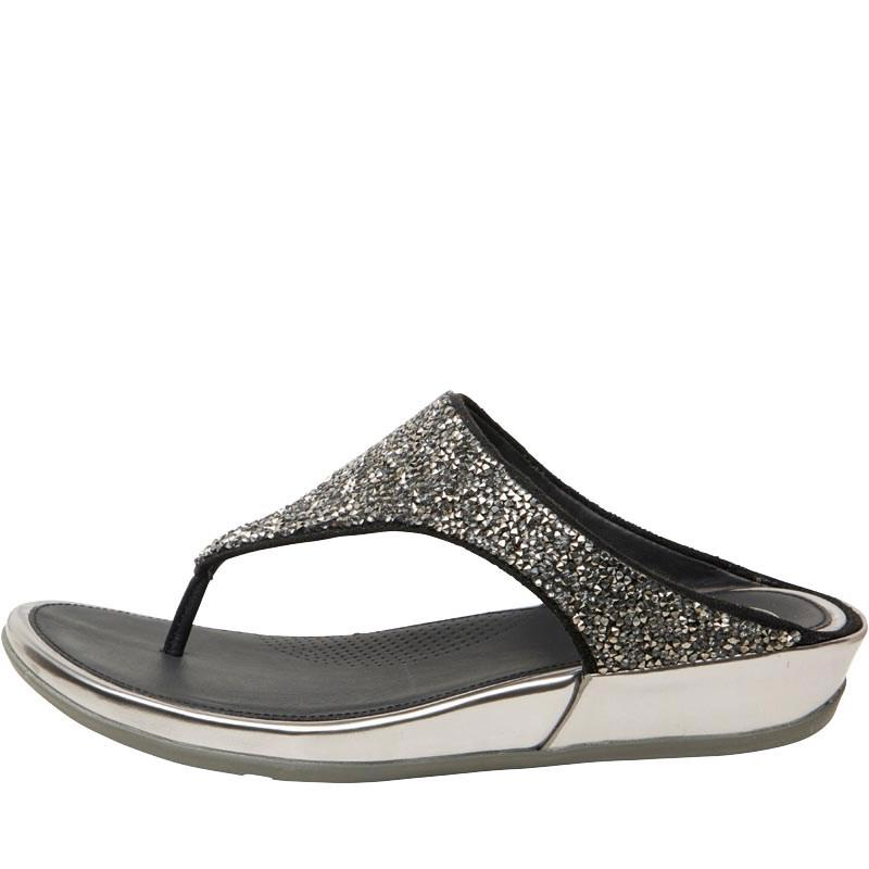 43d8363f0bc3af Fitflop Banda Crystal Toe Post Sandals Pewter in Metallic - Lyst