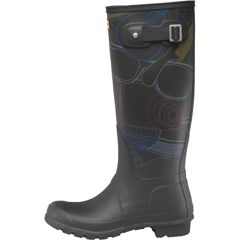 HUNTER Rubber Original Tall Wellington Boots Festival Print in Black