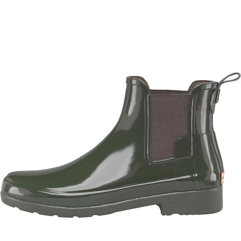HUNTER Rubber Original Refined Gloss Chelsea Boots Dark Olive in Dark Olive Green (Green)