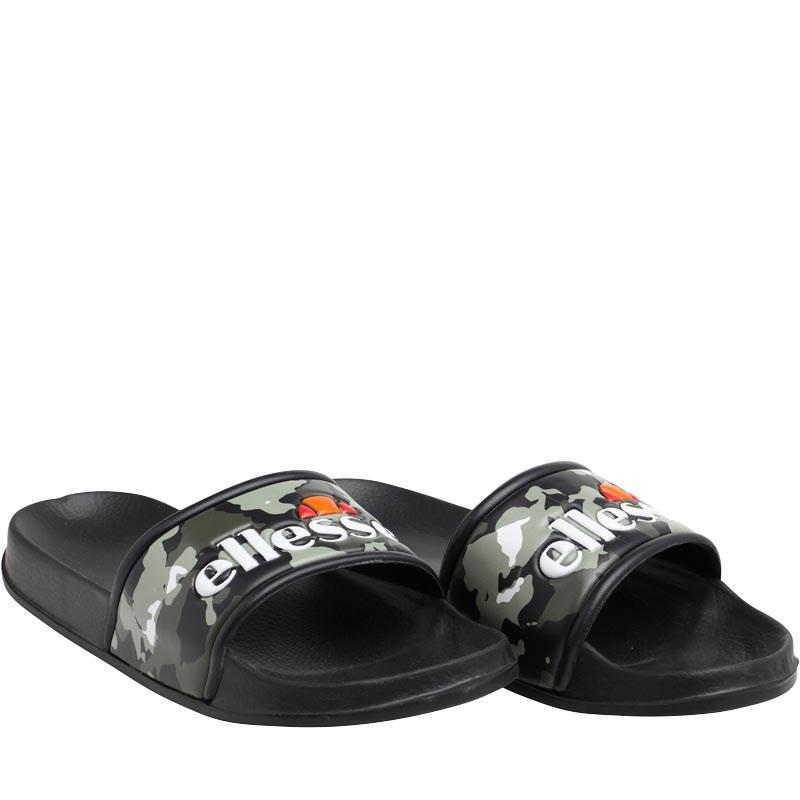 5fa693d318ab Ellesse Logo Slide Flip Flops Black camo white in Black for Men - Lyst