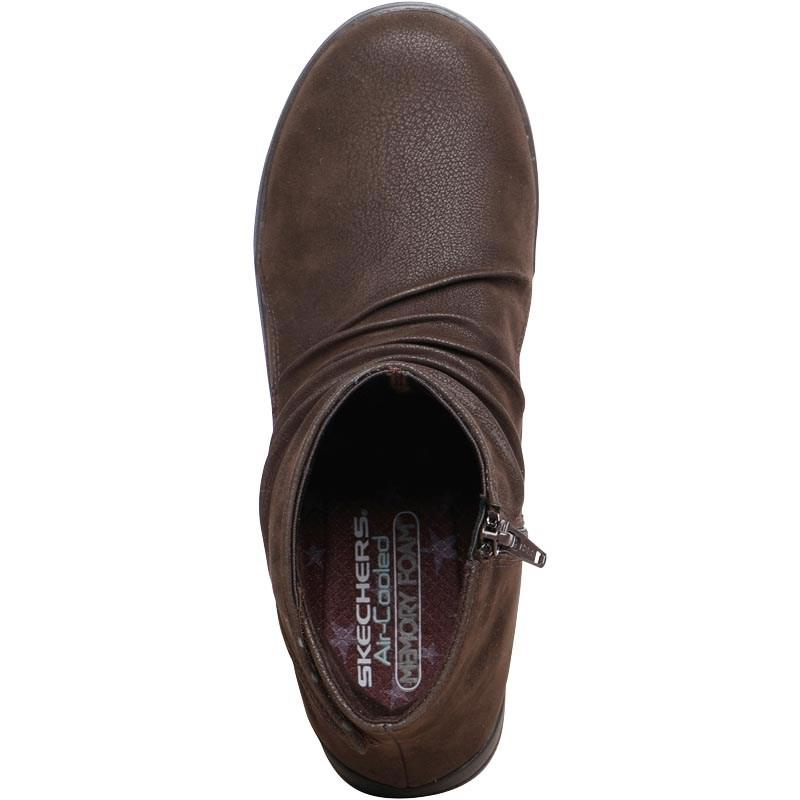 Skechers Leather Lite Step Tricky Boots Chocolate in Brown