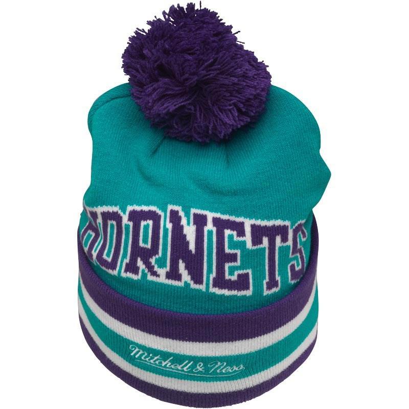 c7e3f2071b1 Mitchell   Ness Charlotte Hornets Cuff Knit Bobble Hat Blue purple ...
