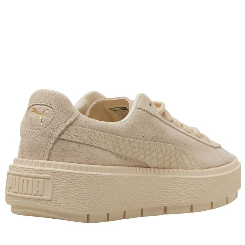 Suede Platform Trace Animal Trainers Whisper White