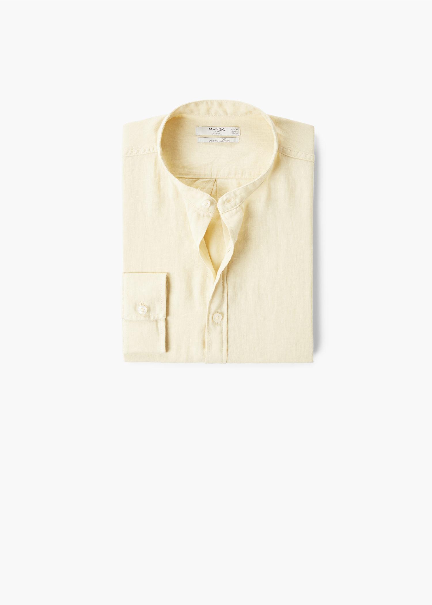 Mango 100% Linen Mao Collar Shirt for Men