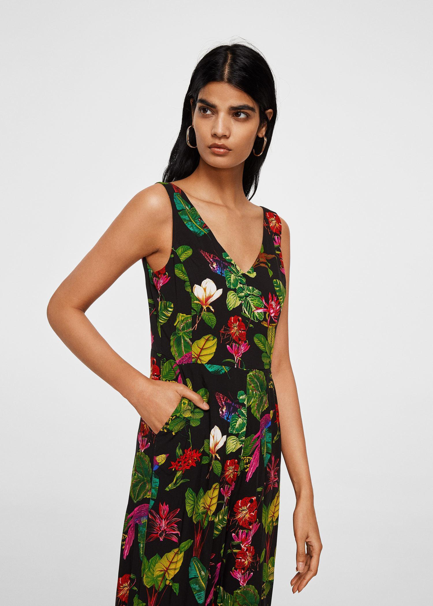 f6b7cde649 Lyst - Mango Floral Long Jumpsuit in Black