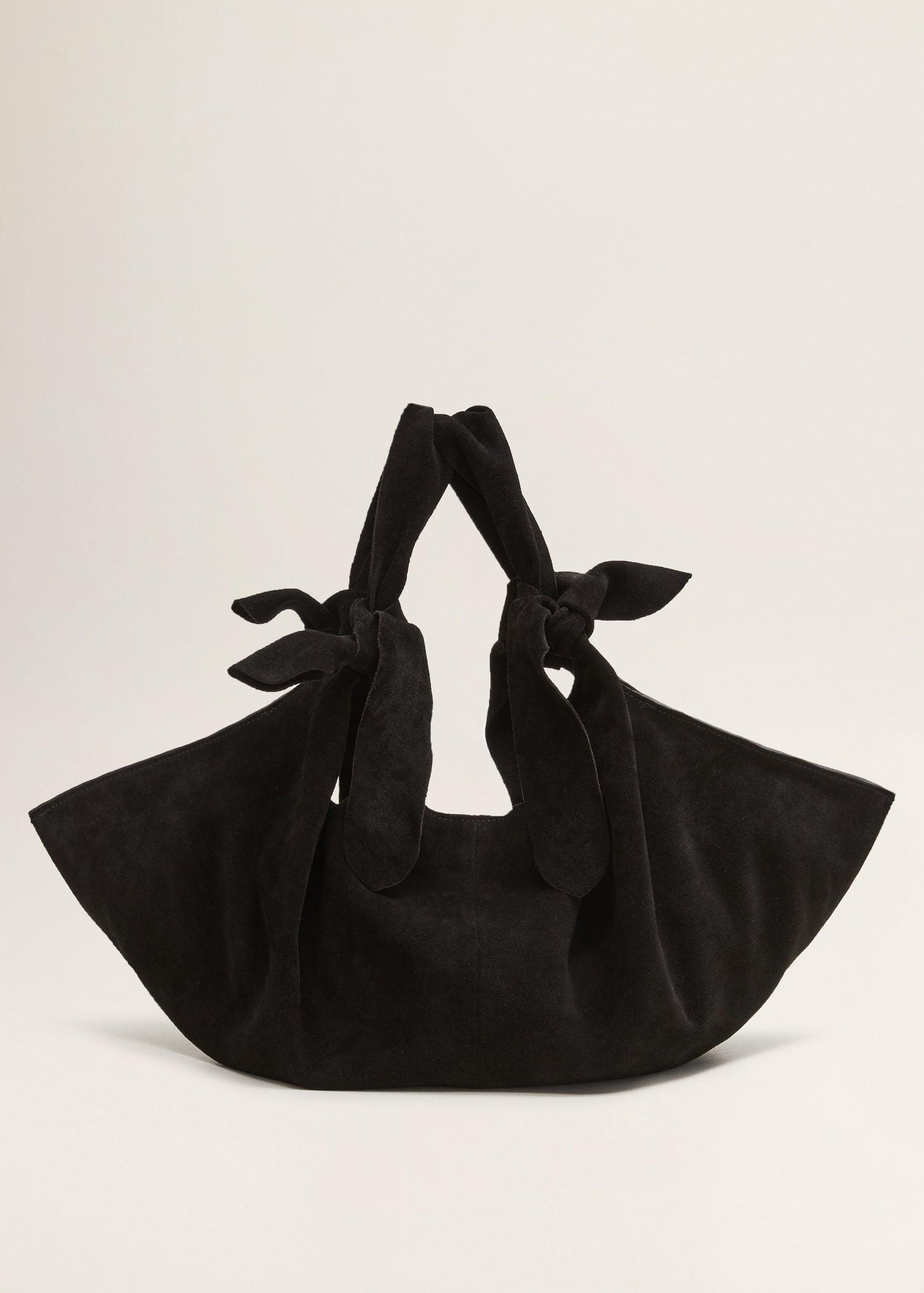 e2b28f0444 Mango Bow Leather Bag in Black - Lyst