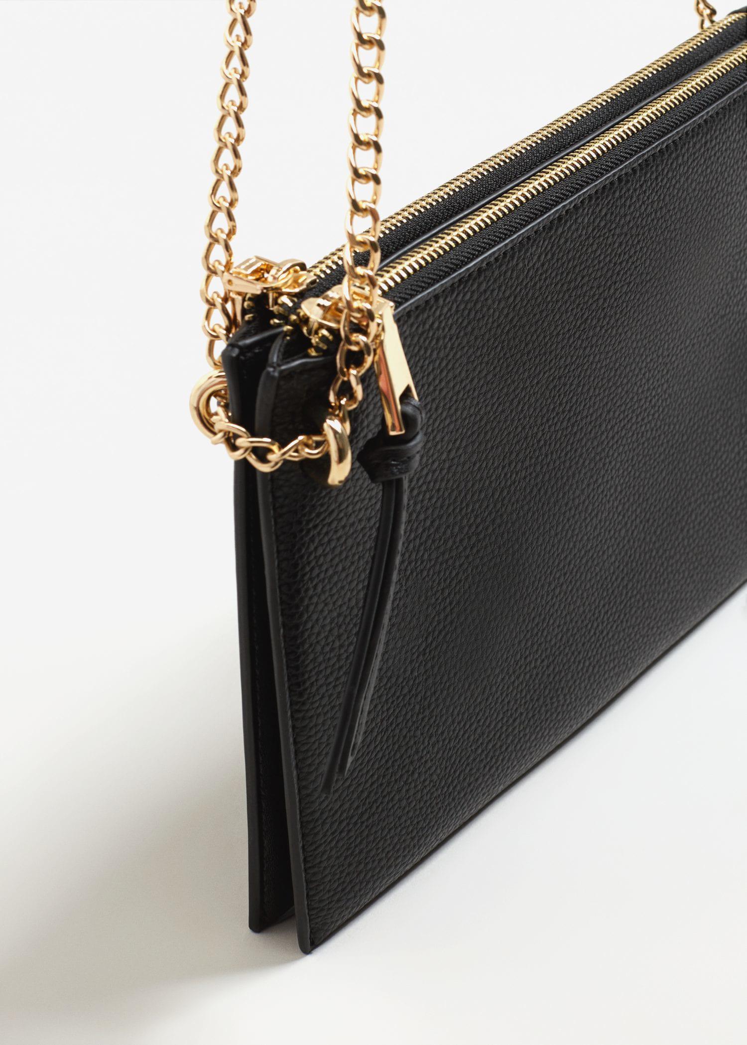 Mango Leather Pebbled Cross-body Bag in Black