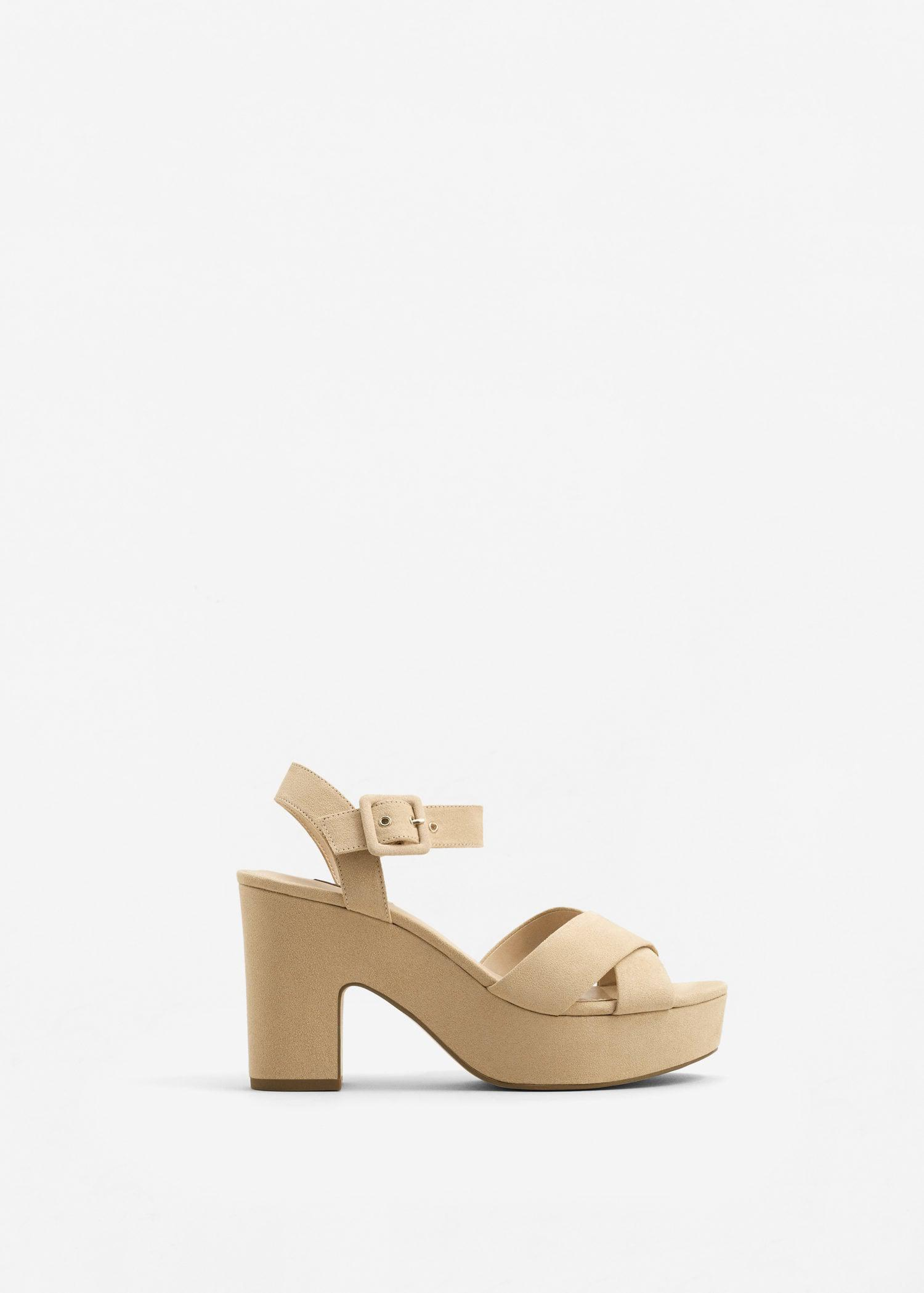 fbe8ee287b4c Lyst - Mango Crossover Platform Sandals in Natural