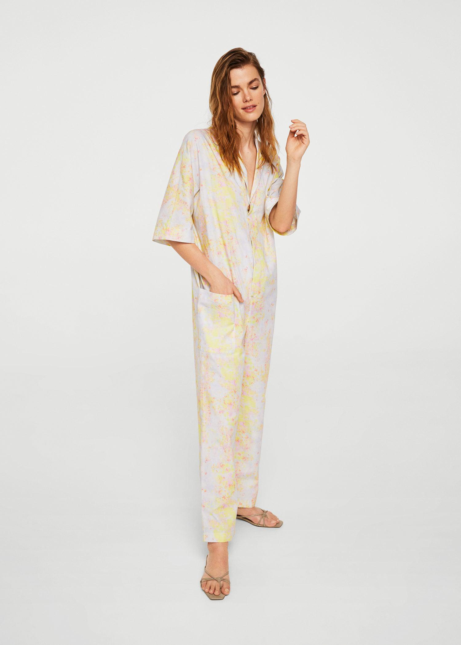 b9787c4486a Lyst - Mango Printed Organic Cotton Jumpsuit in Pink