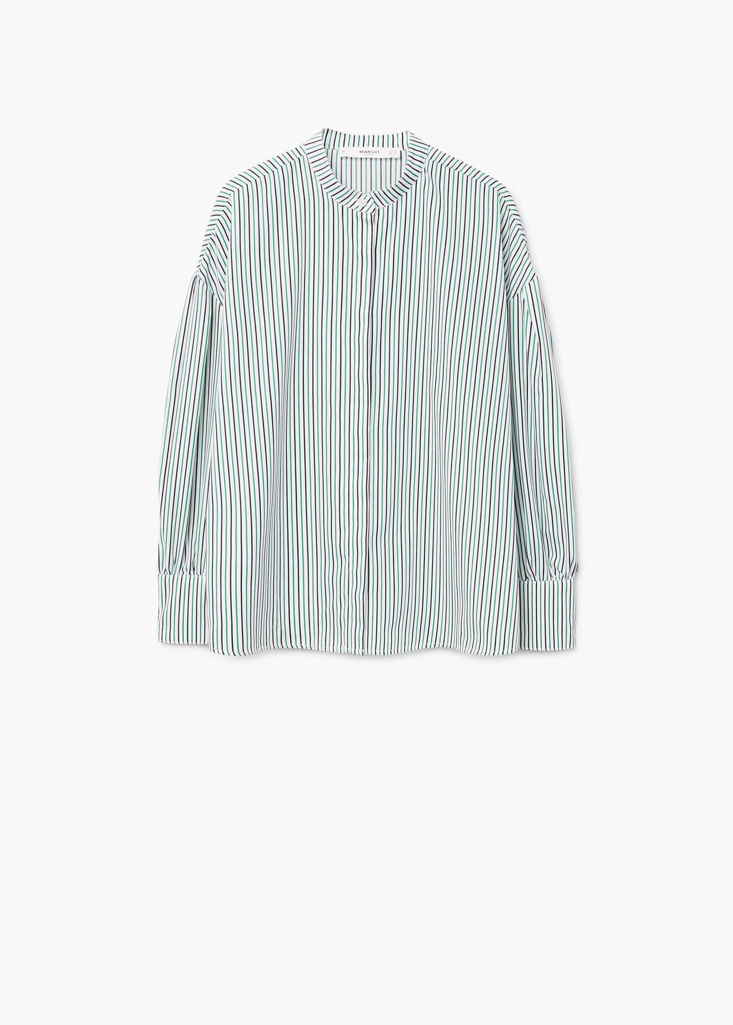 e9f217be0e Mango Striped Mao Collar Shirt in Green - Lyst