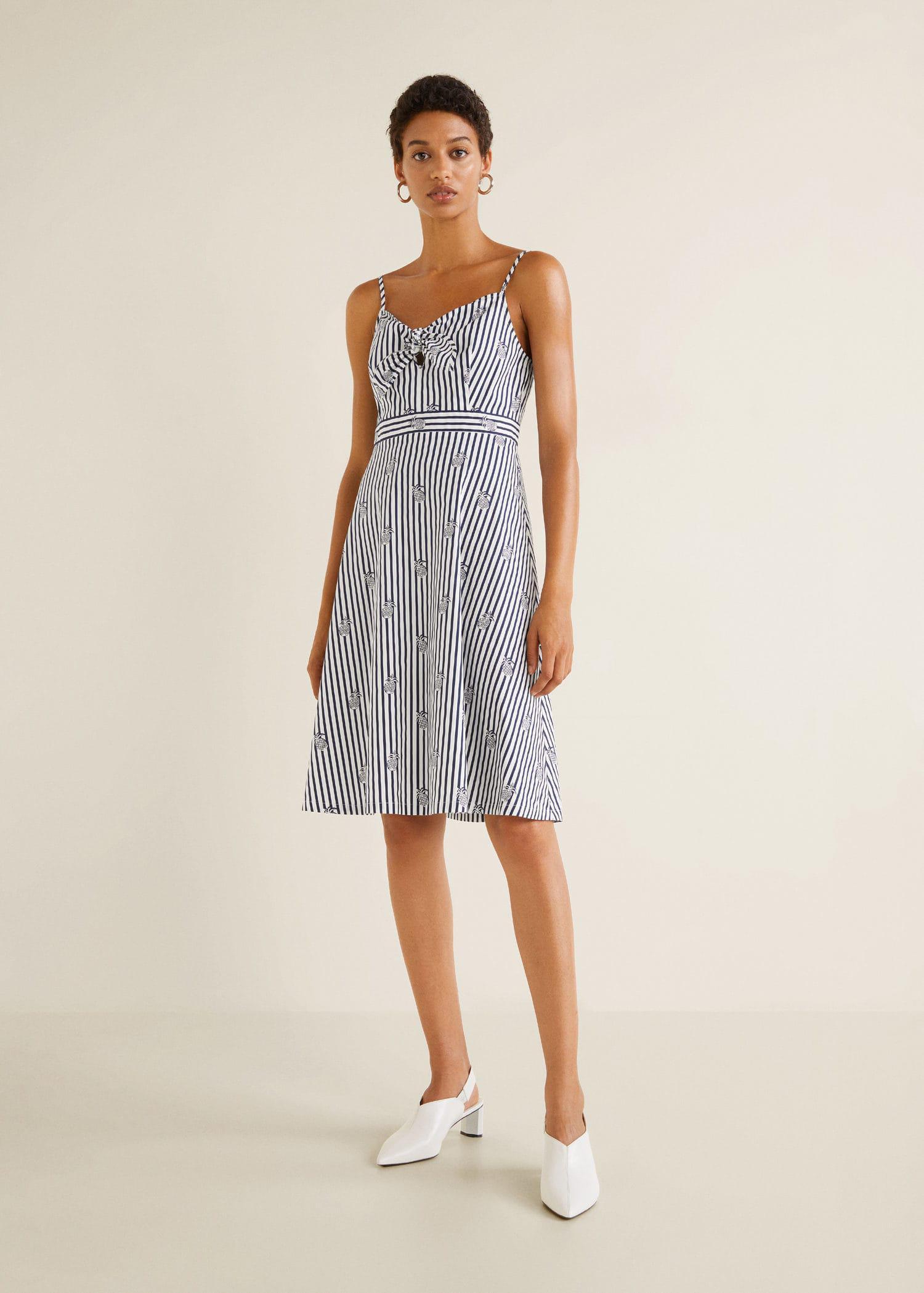65d807913d4 Mango - White Striped Strap Dress - Lyst. View fullscreen