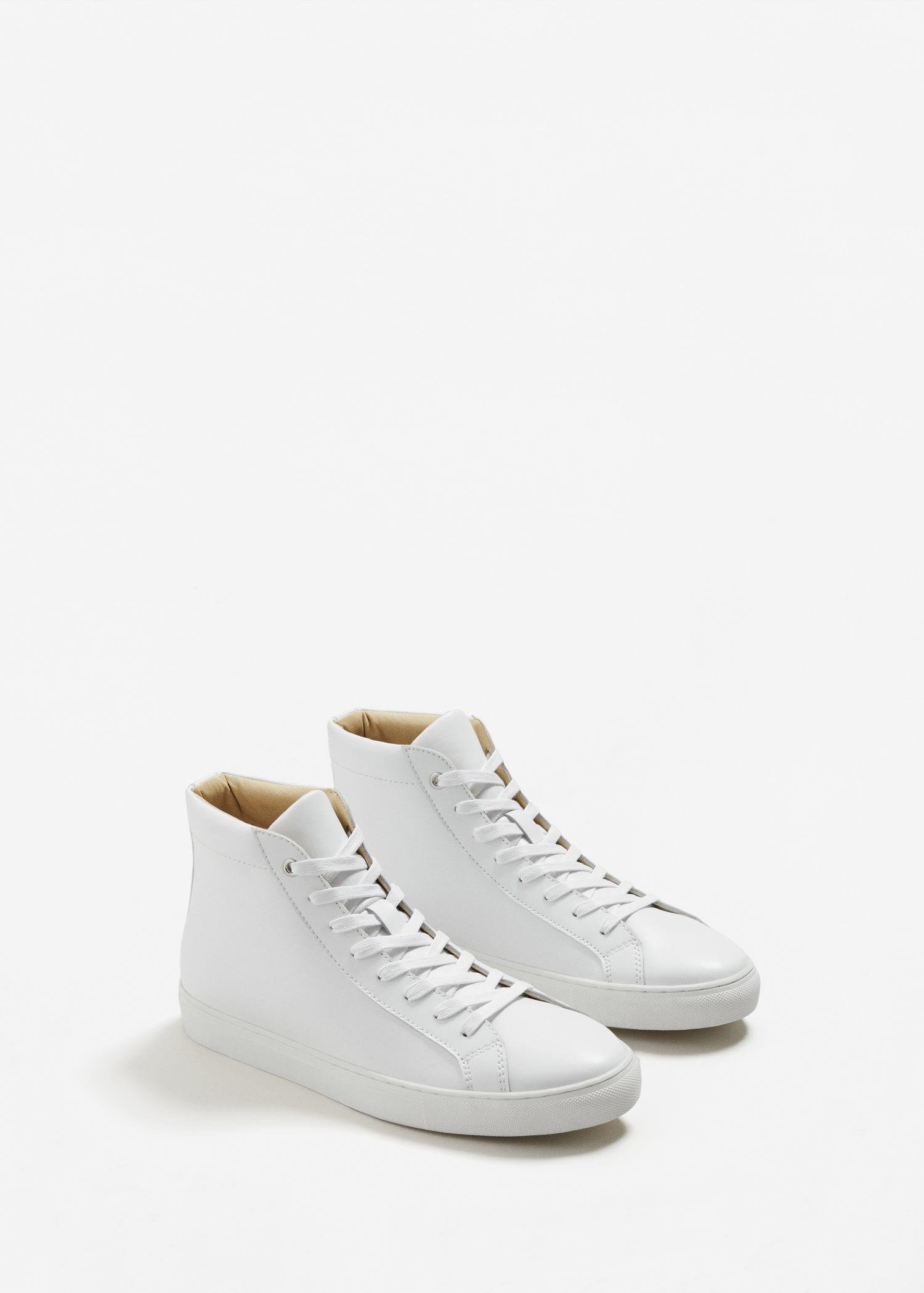 Mango Lace-up Leather Boots in White - Lyst