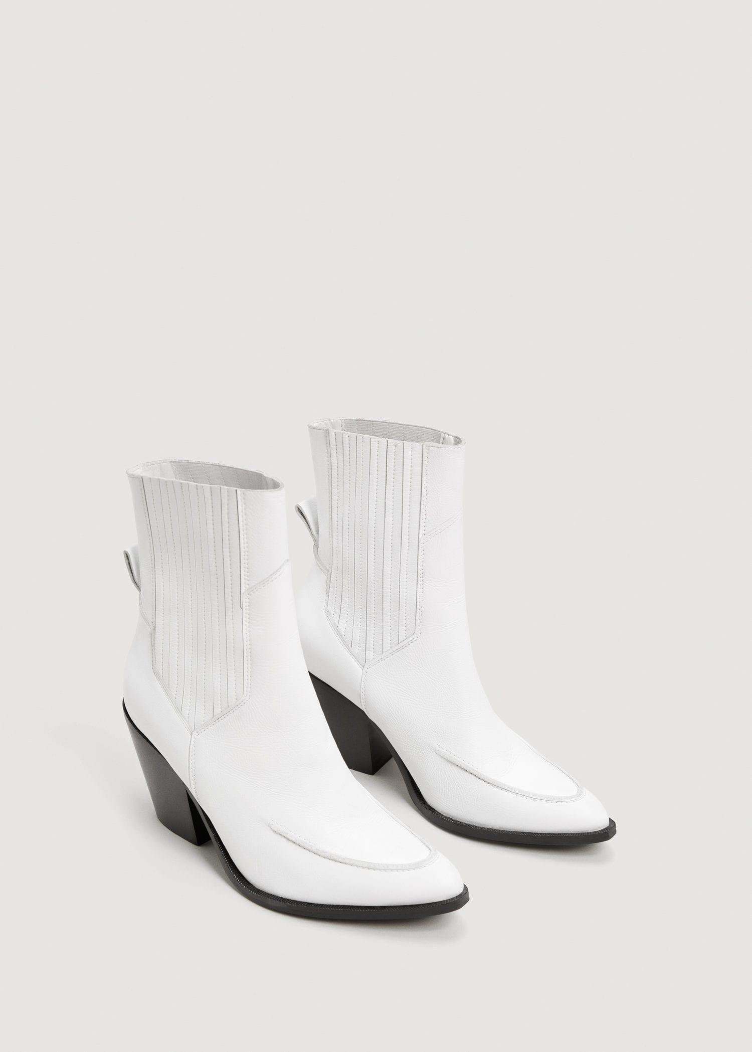 4c1eaaebe58 Mango White Leather Cowboy Ankle Boots