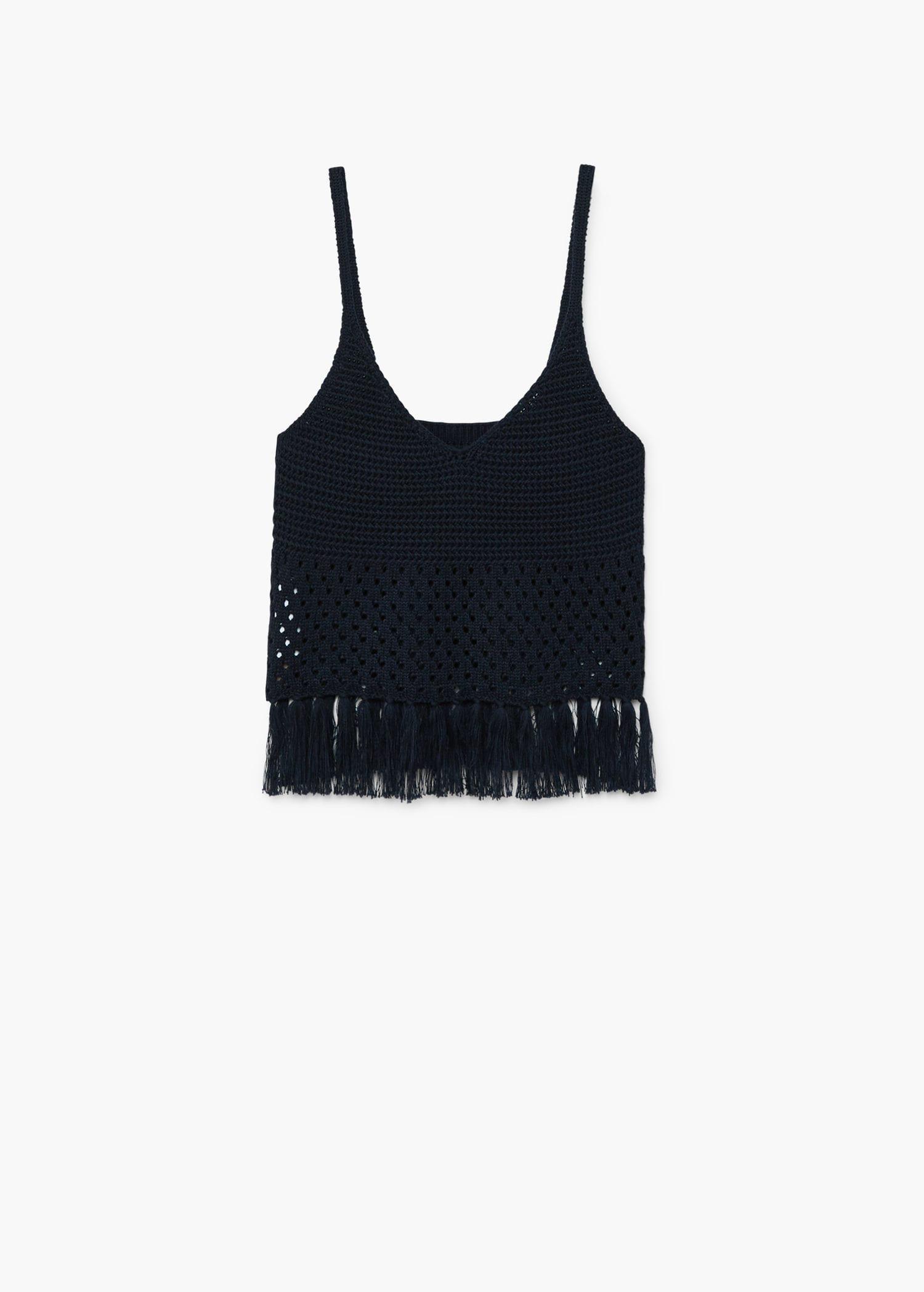 Mango Cotton Tassels Crochet Top in Dark Navy (Blue)