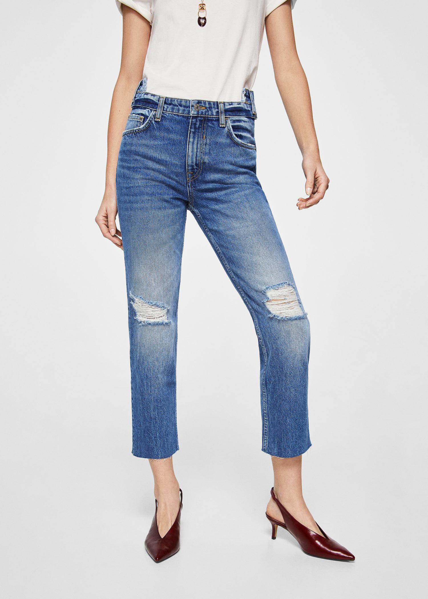 frayed hem straight leg jeans in blue - Blue Mango NptZcP