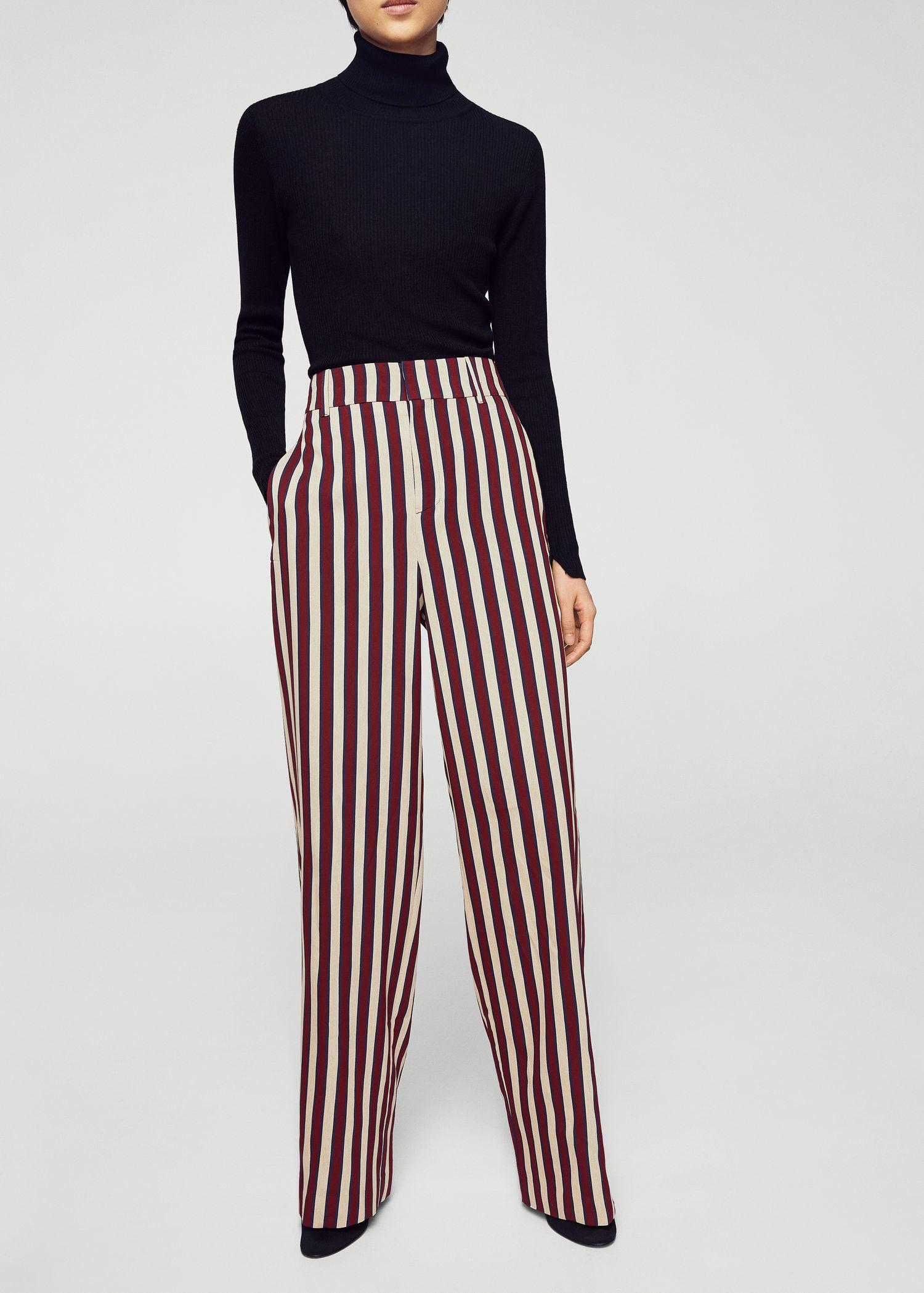 Mango Synthetic Striped Palazzo Trousers Lyst