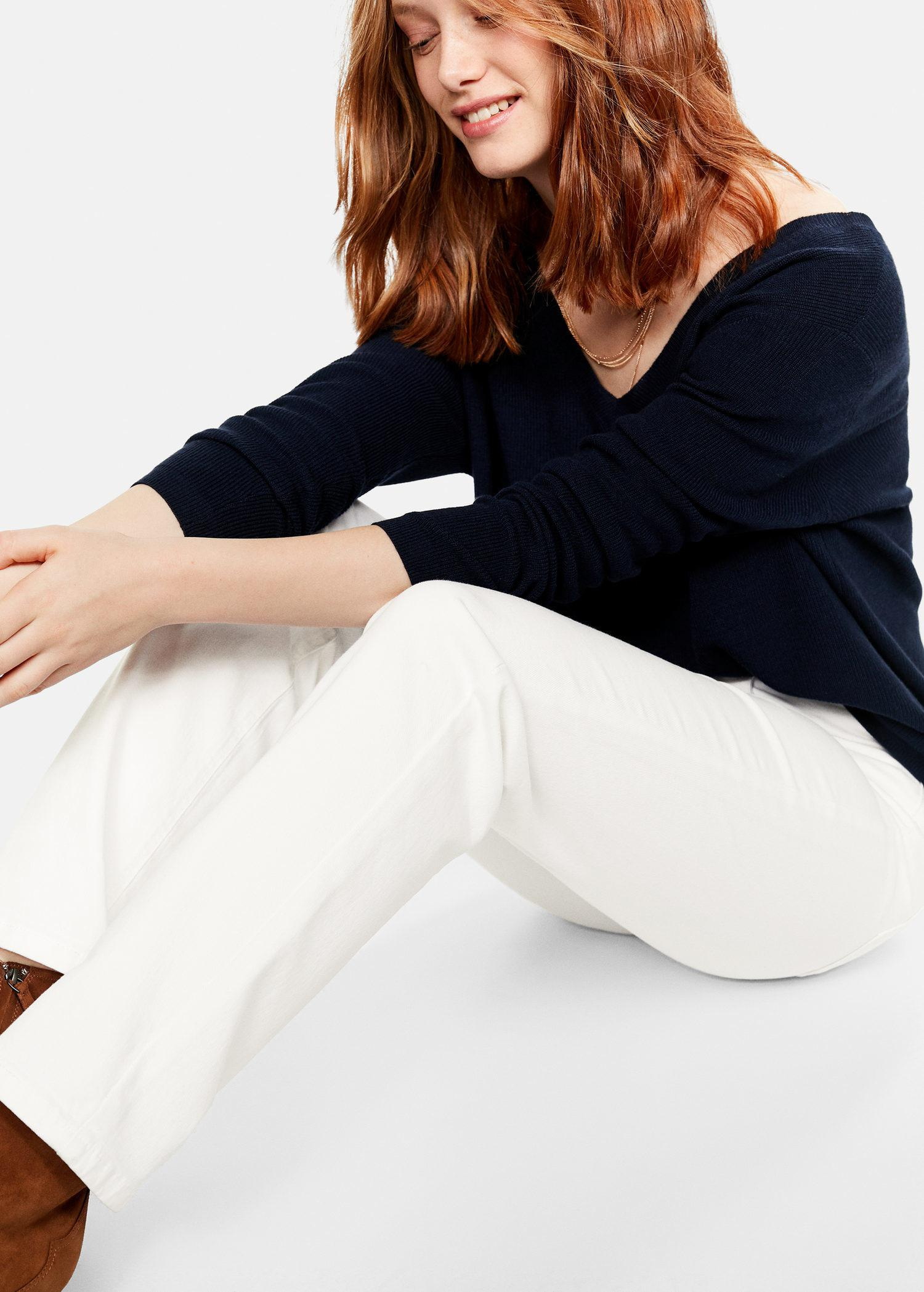 5bf79107f170d8 Violeta by Mango Straight-fit Theresa Jeans in White - Lyst