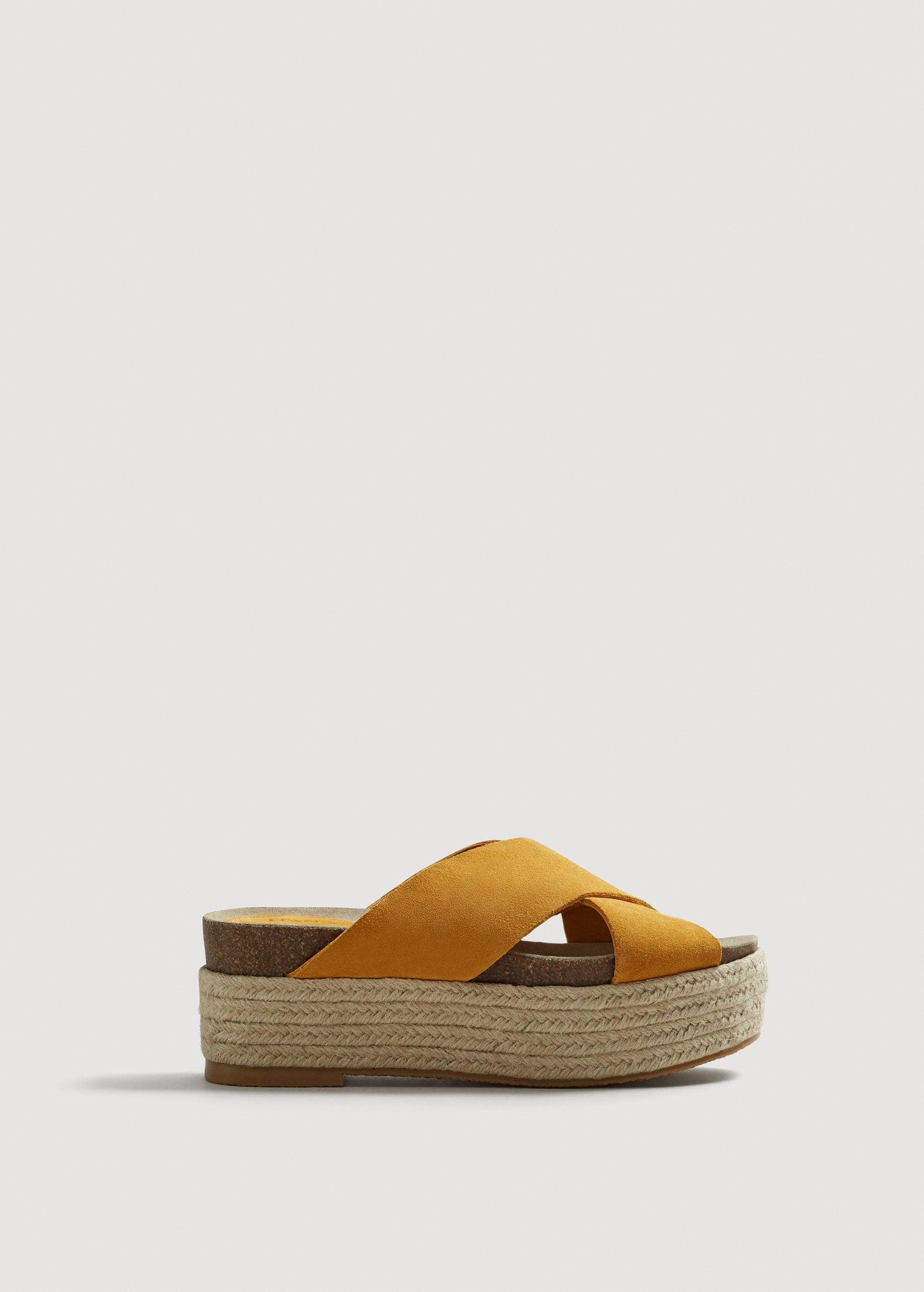2036ed0ce7 Mango Platform Leather Sandals - Lyst