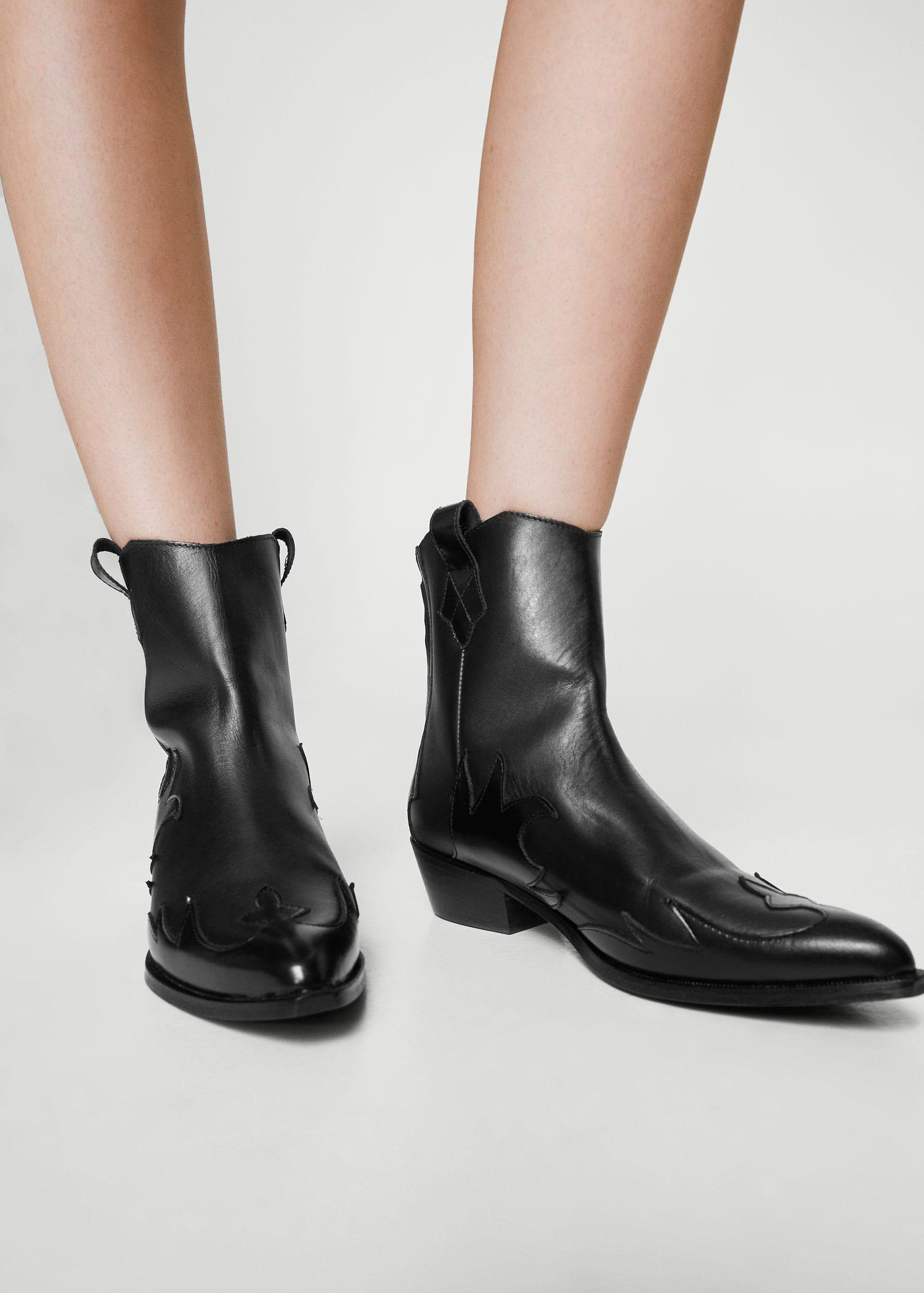 9bbbde3b1a3 Mango Black Leather Cowboy Ankle Boots