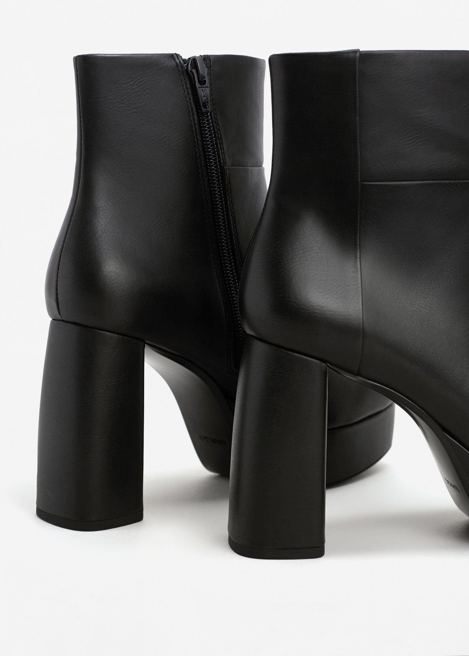 Mango Zipped Platform Boots in Black