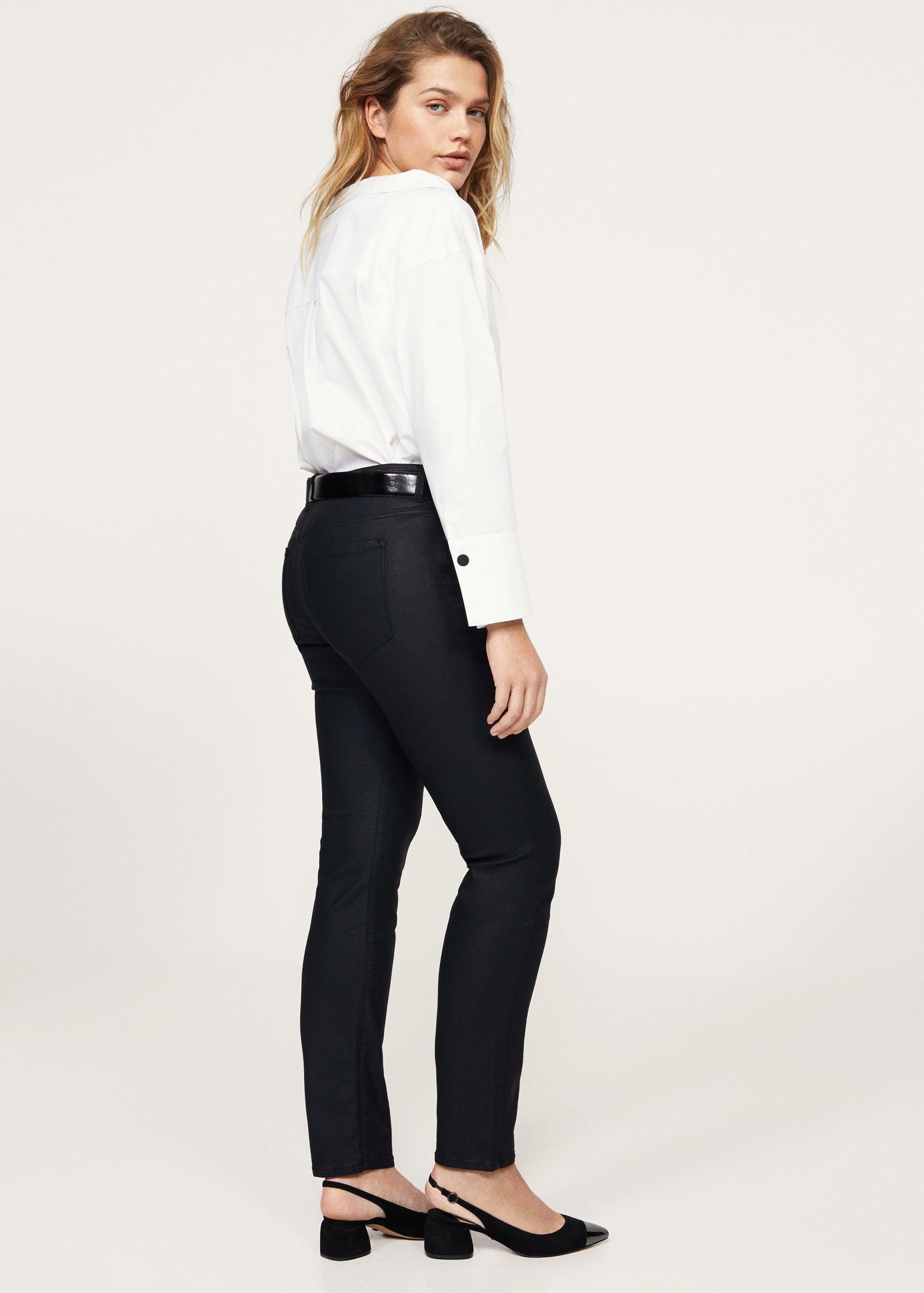 b89a6982f Violeta by Mango Black Coated Slim-fit Carmen Jeans