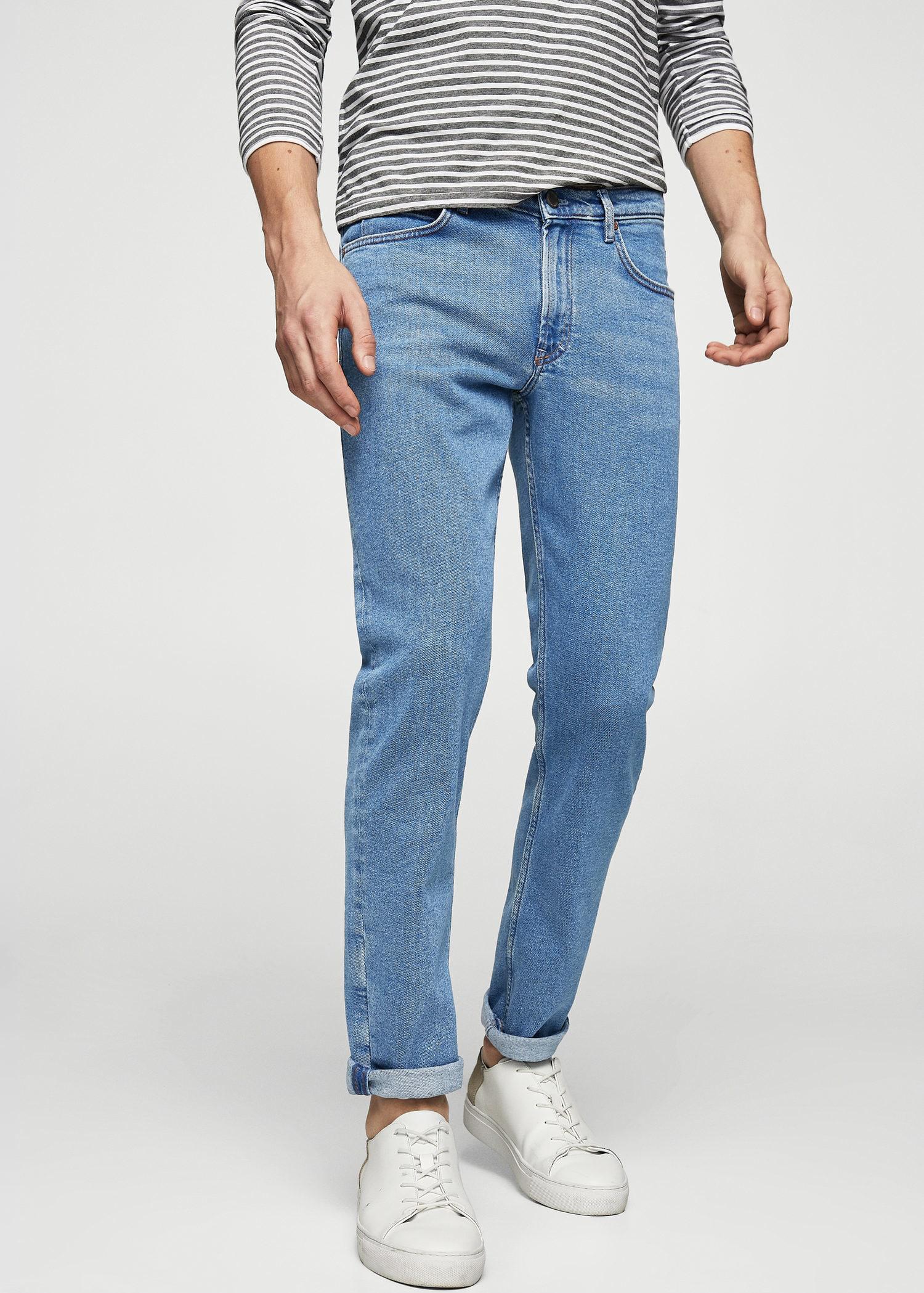 Mango Slim Fit Medium Wash Patrick Jeans In Blue For Men