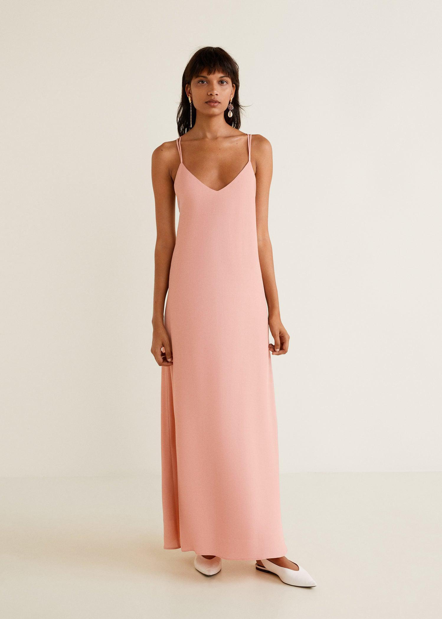 f281b4b02411e Mango Long Crepe Dress in Pink - Lyst