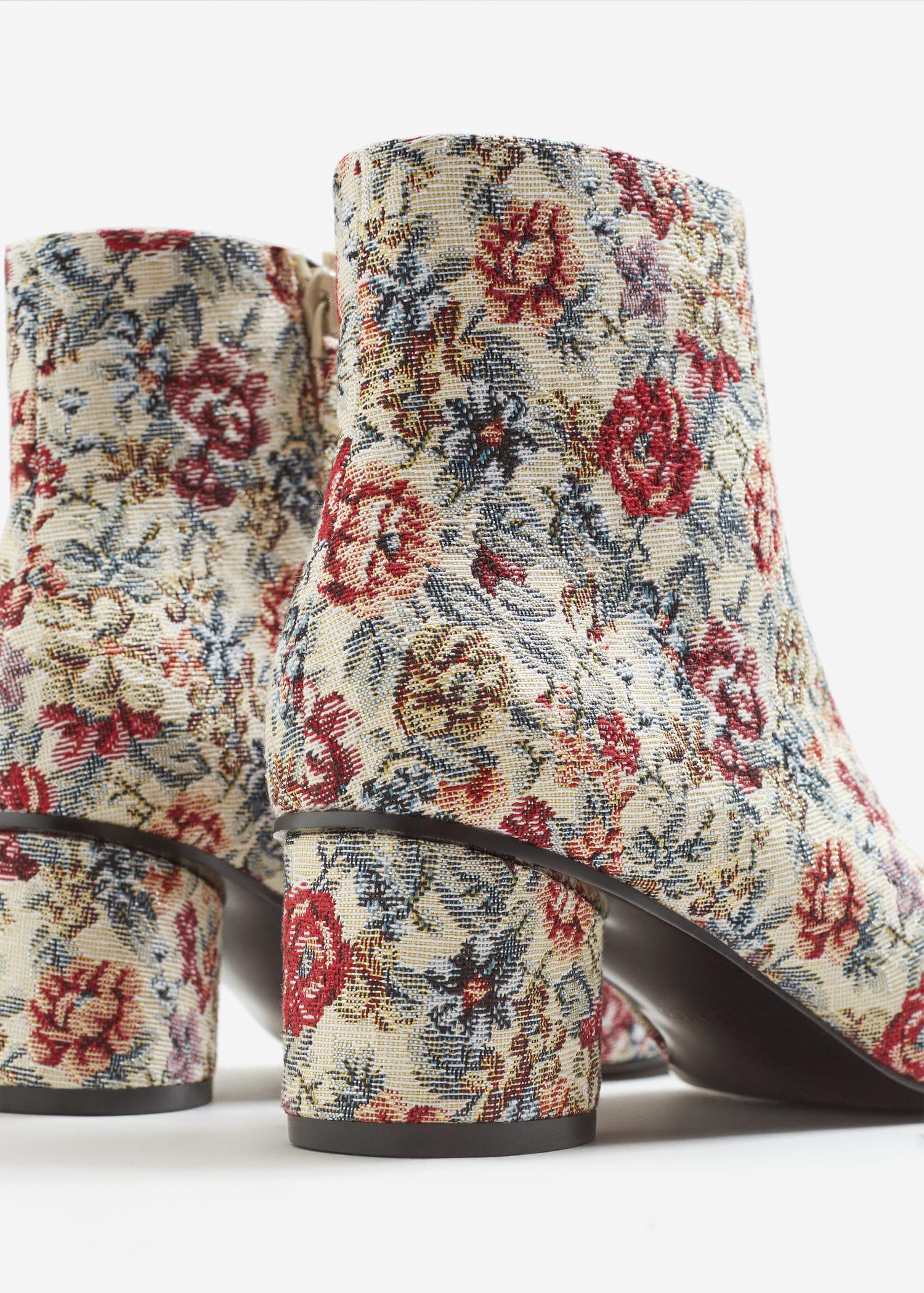 Mango Synthetic Floral Print Ankle Boot in Beige (Natural)