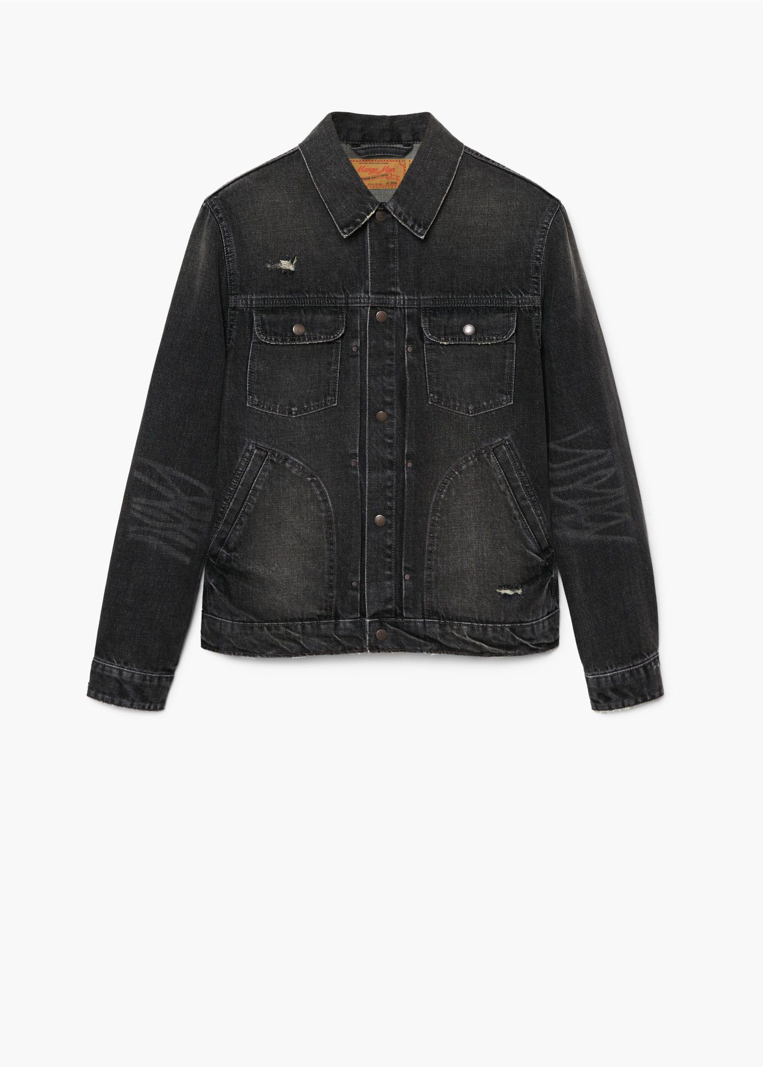 Mango Dark Grey Wash Denim Jacket in Grey for Men