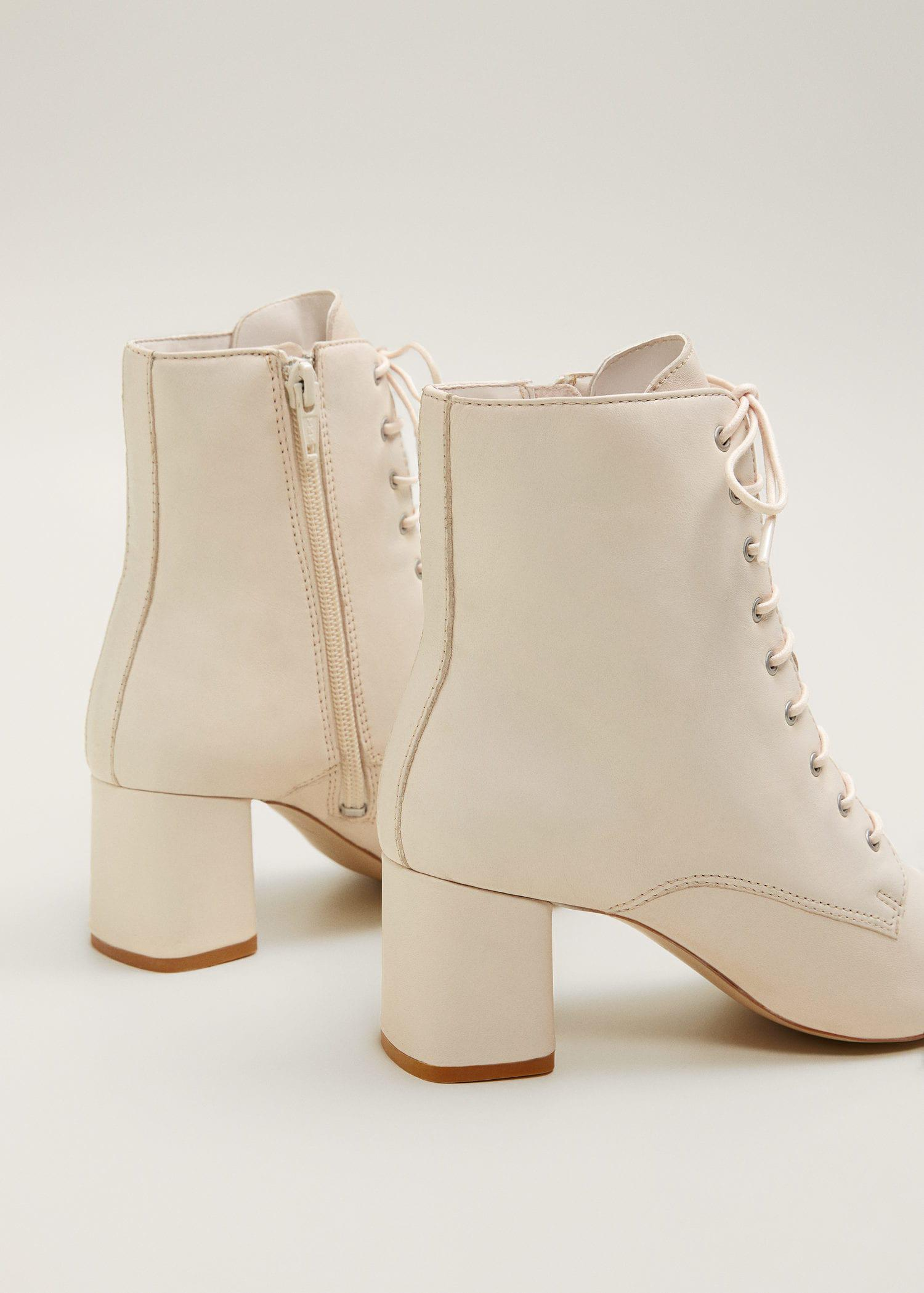 Mango Lace-up Leather Boots in Vanilla