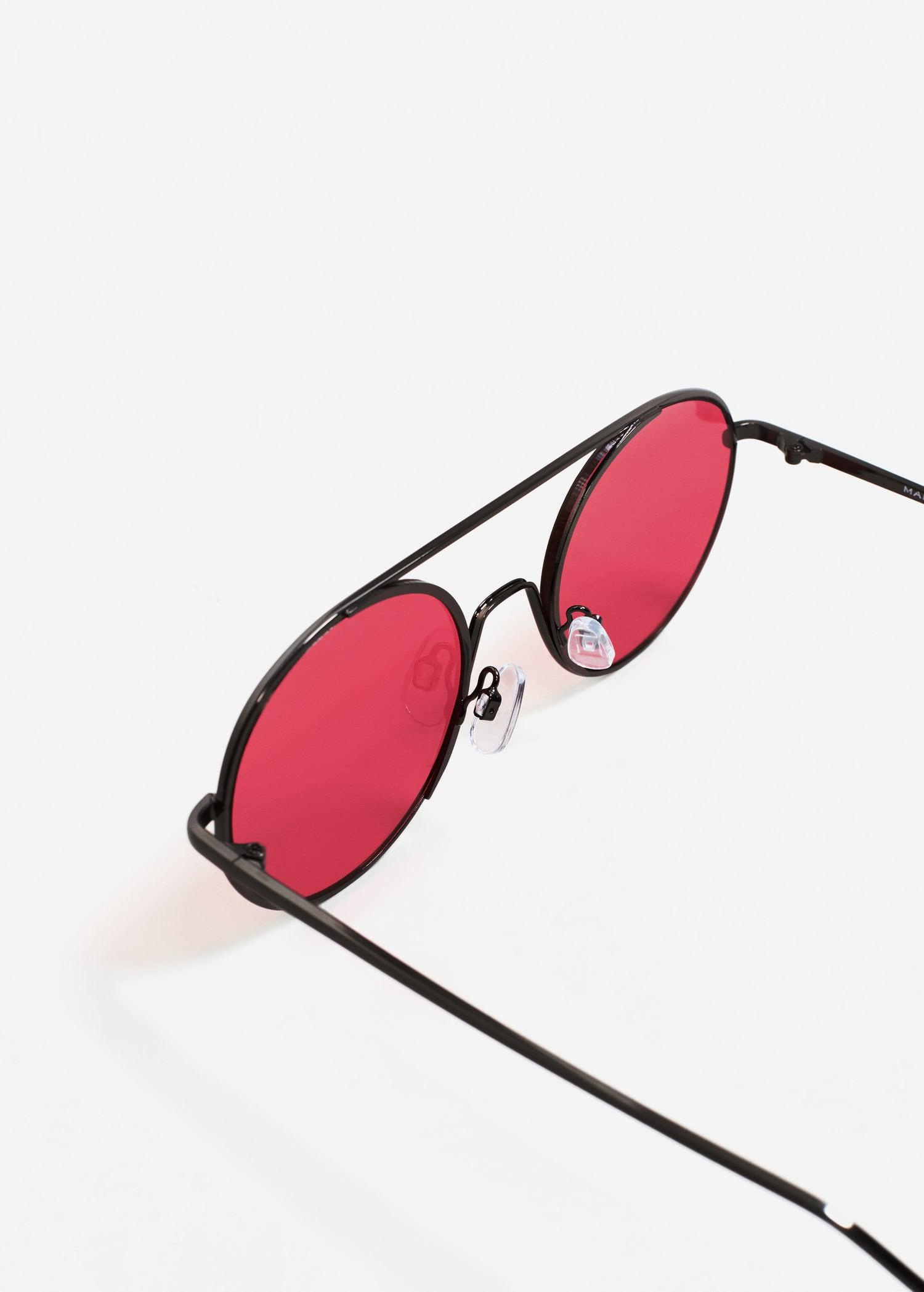 Mango Metal Sunglasses in Red