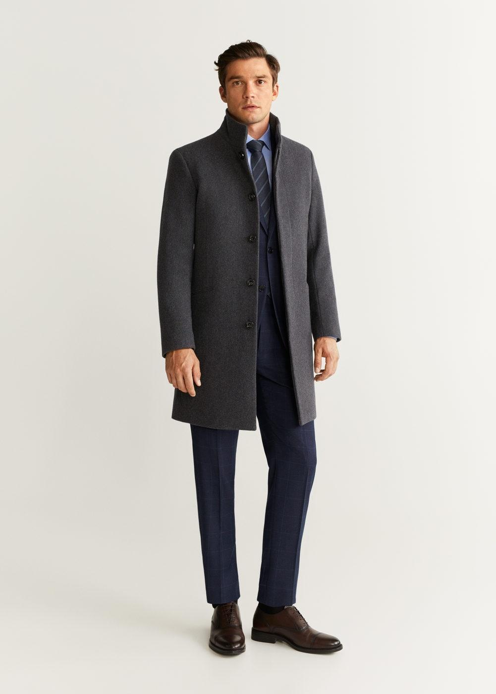 Mango Wollen Tailored Jas in het Grijs voor heren