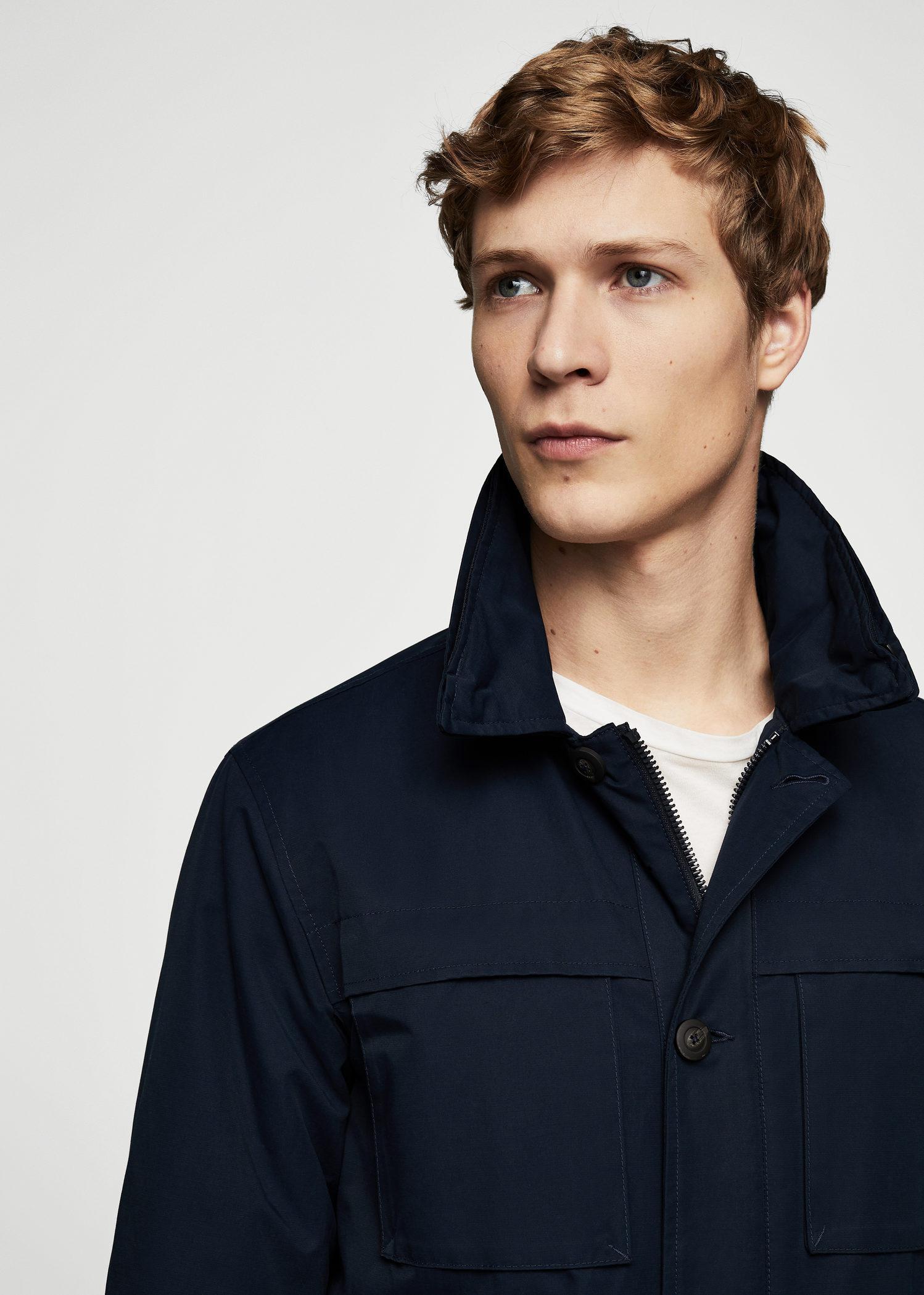Mango Cotton Jacket in Dark Navy (Blue) for Men