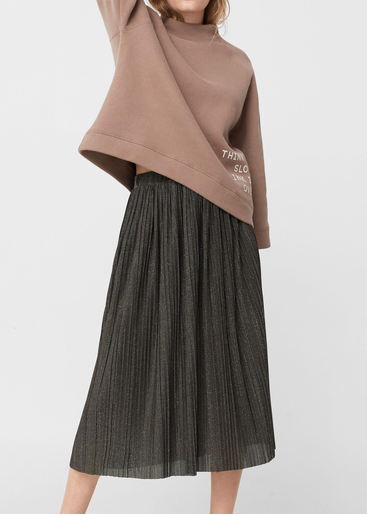 18a71aa8cf Mango Pleated Midi Skirt in Metallic - Lyst