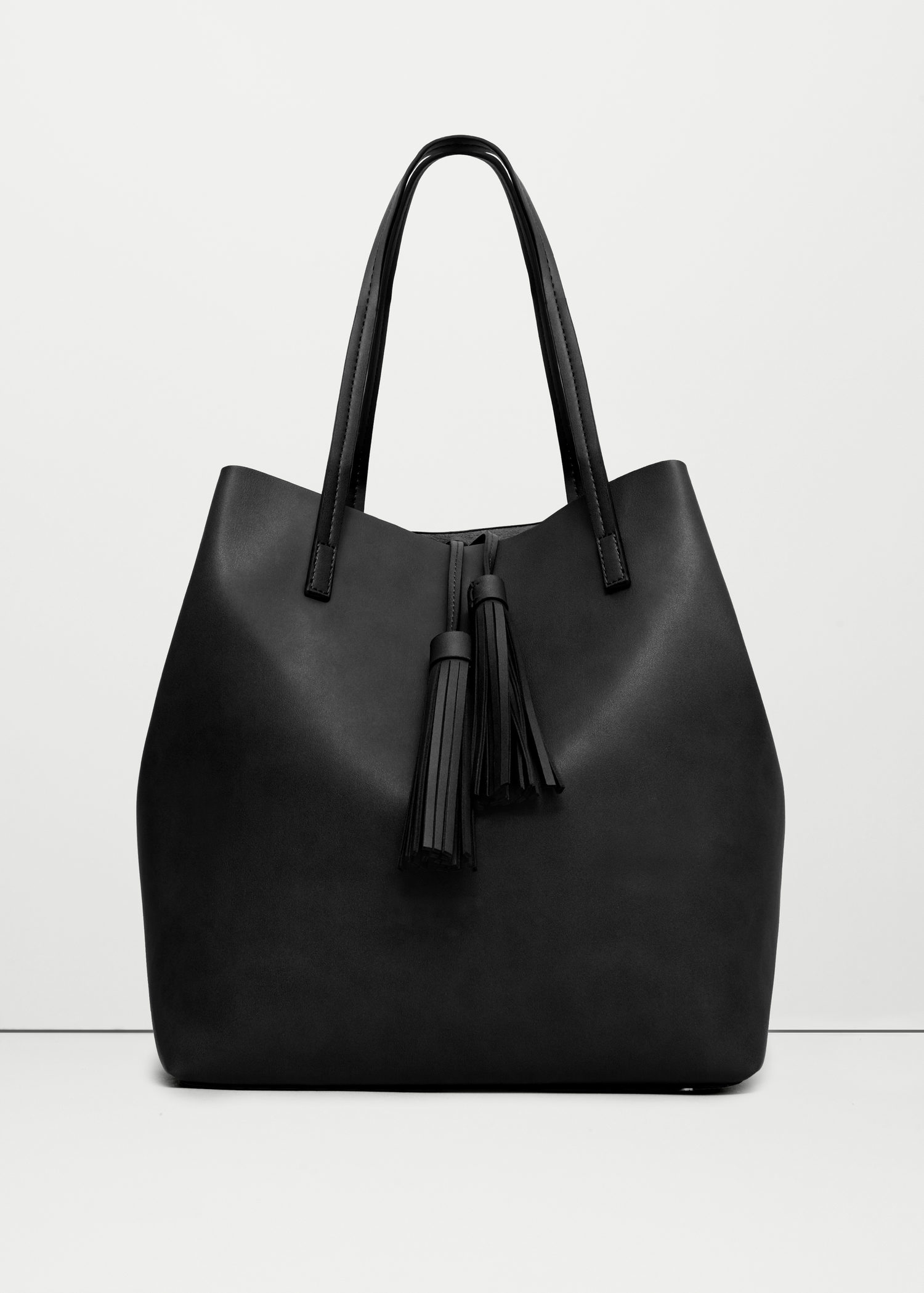 Mango Tassel Shopper Bag in Black | Lyst