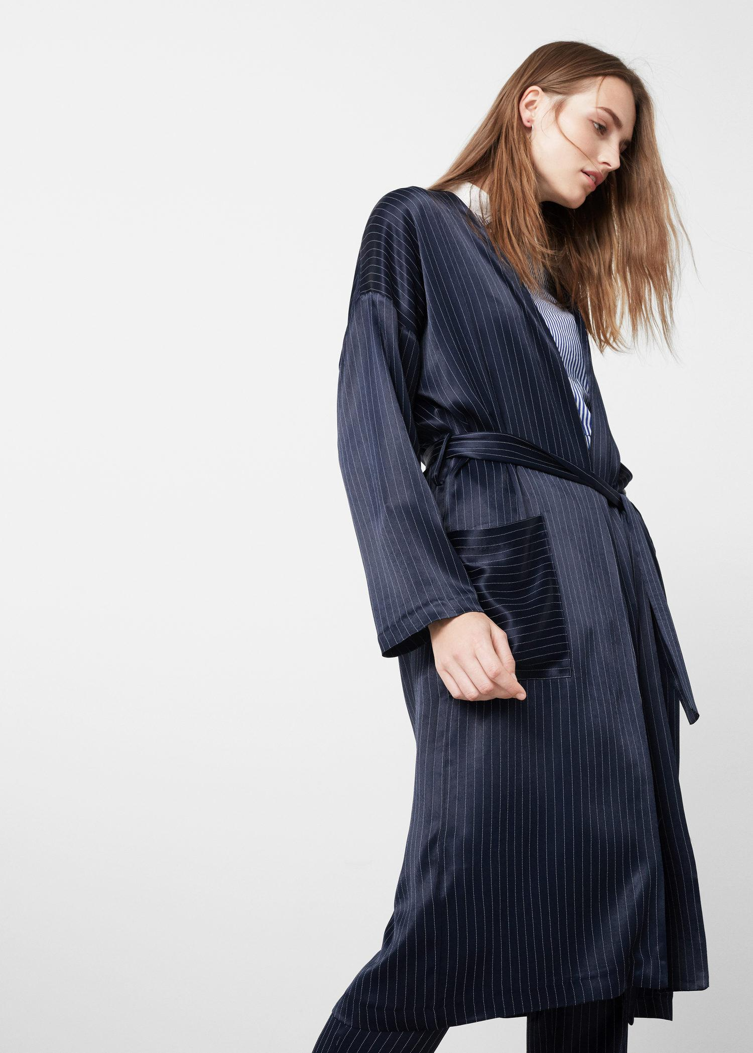 Mango satined robe in blue lyst for Robe jean mango