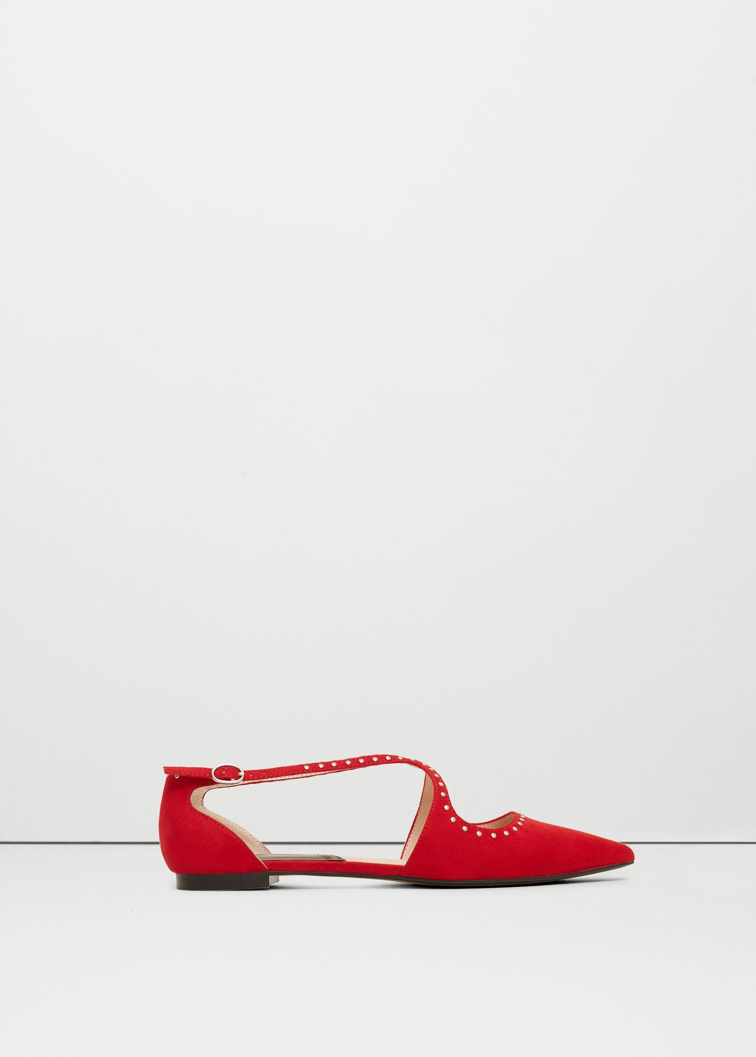 Mango Studded Flat Shoes In Red | Lyst