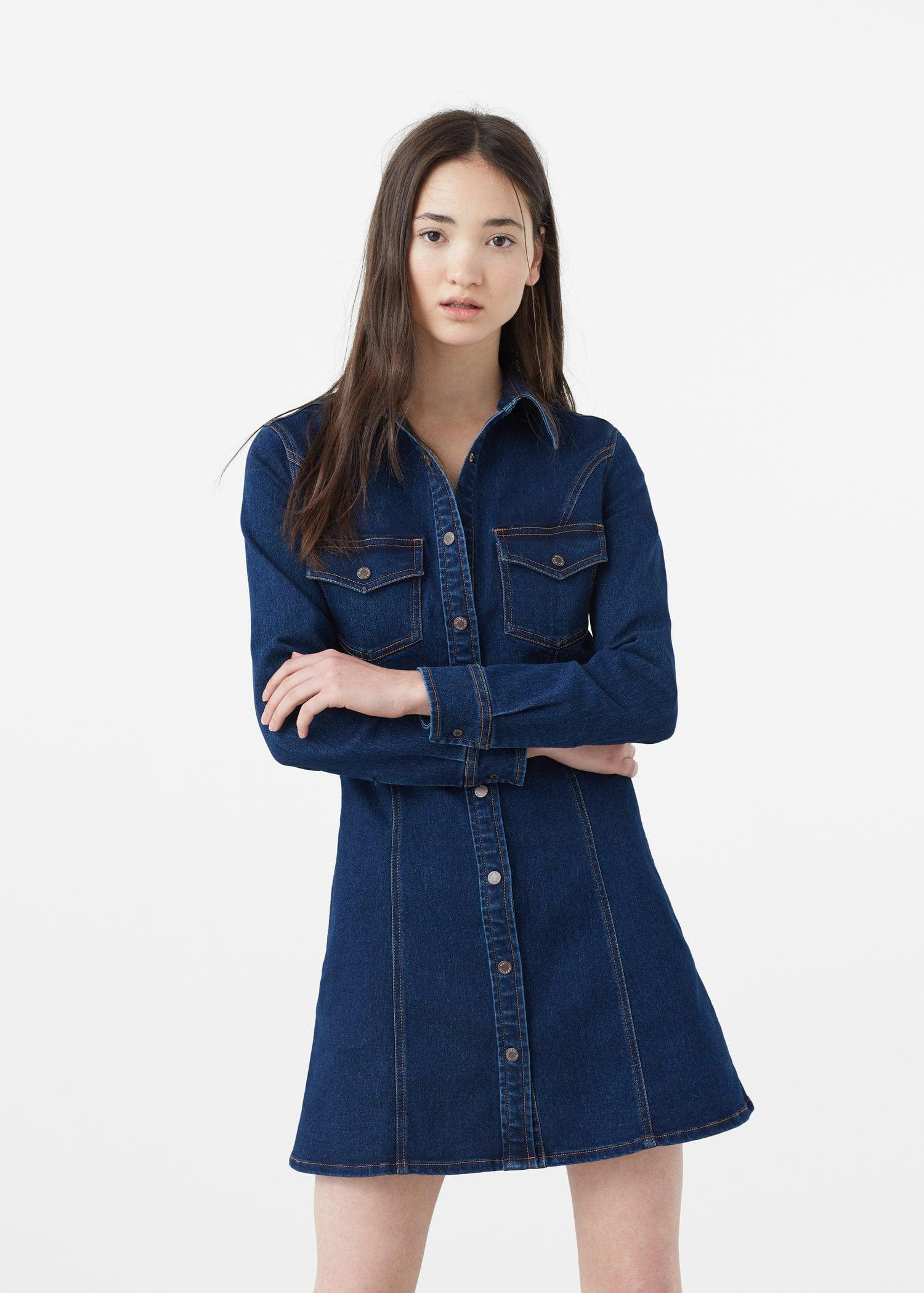 Mango dark denim dress in blue lyst for Robe jean mango