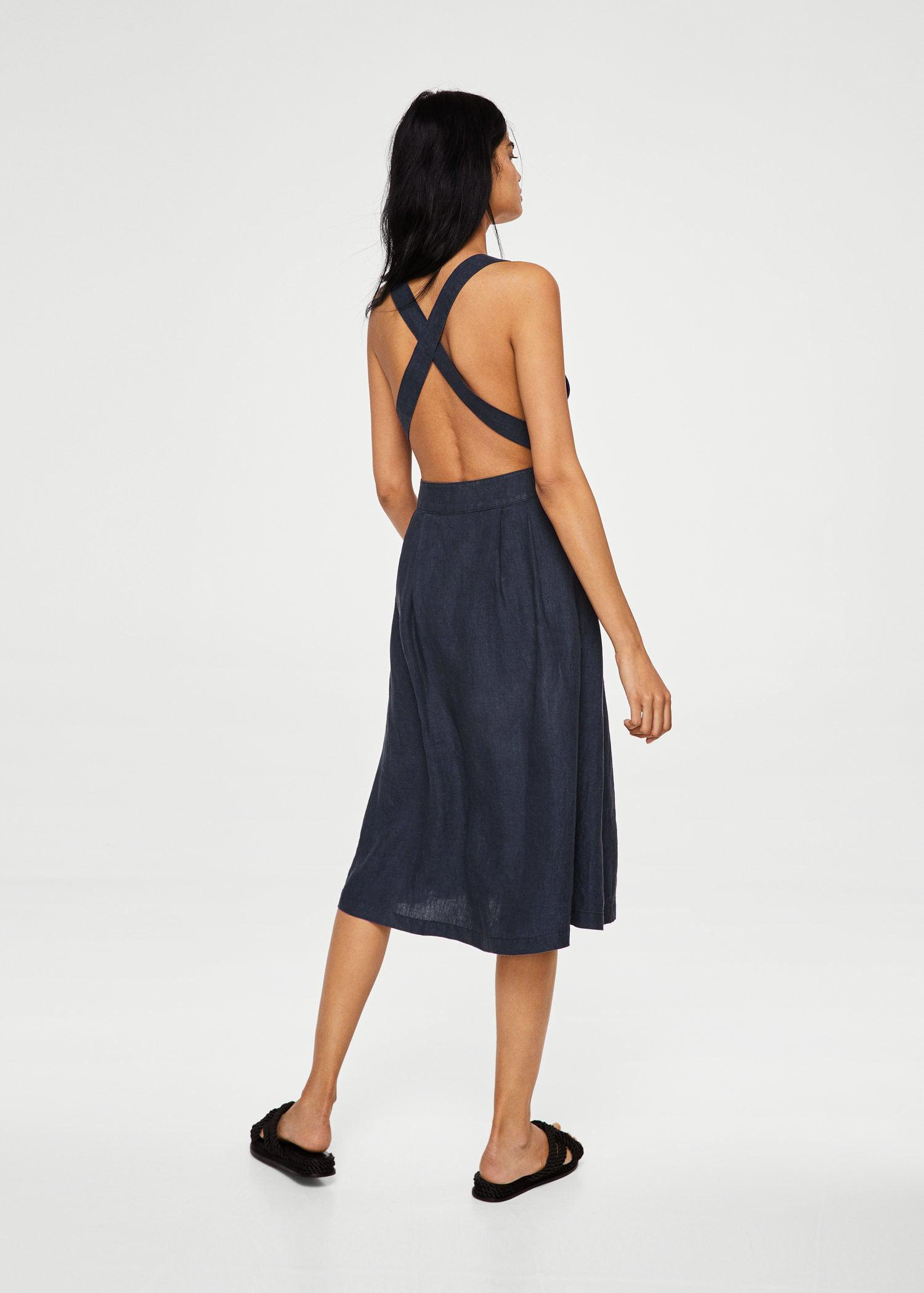 Lyst - Mango Linen-blend Midi Dress in Blue 50082bcd9