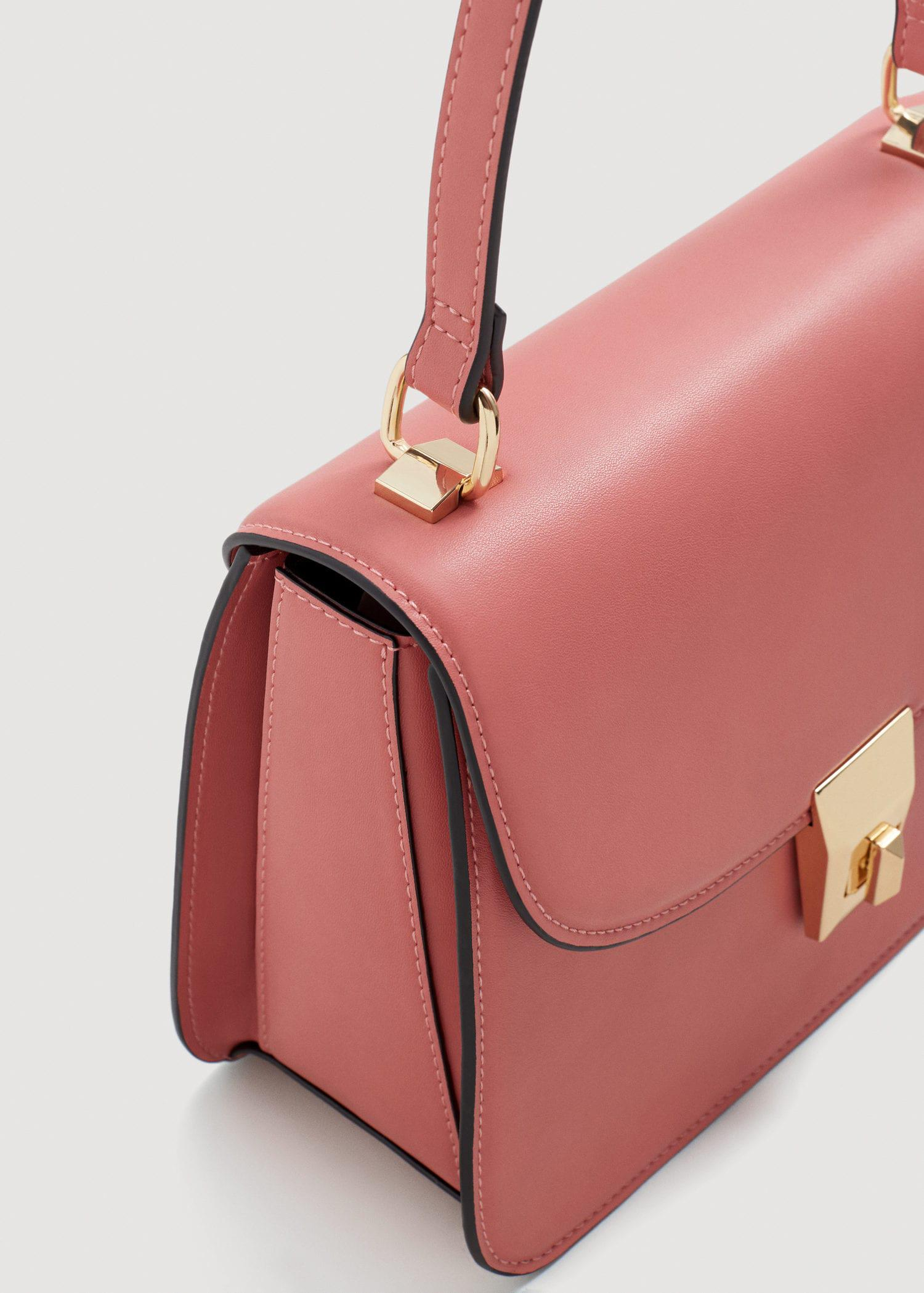 Mango Leather Pebbled Cross-body Bag in Pink