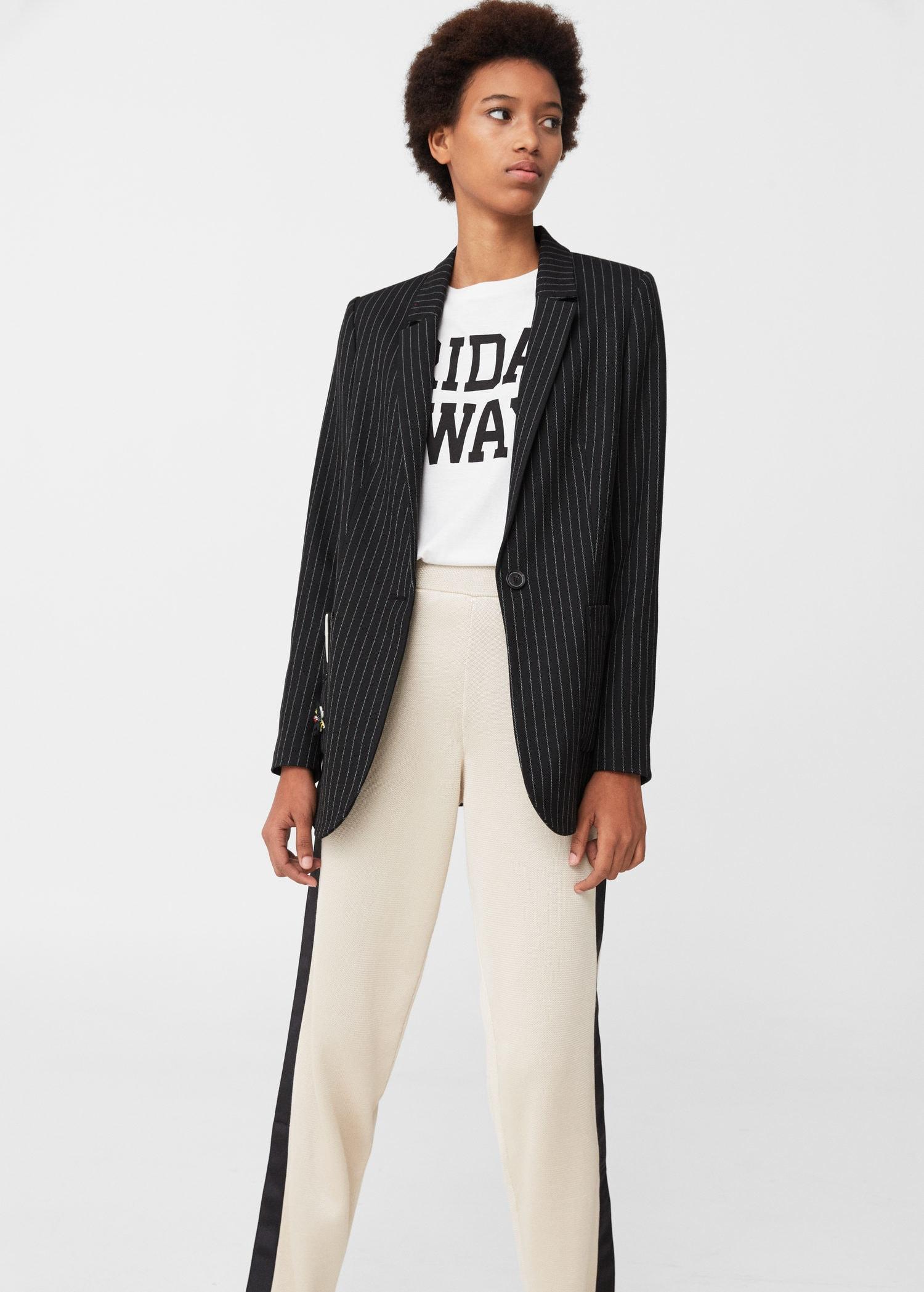 Lyst Mango Pinstripe Suit Blazer In Black For Men